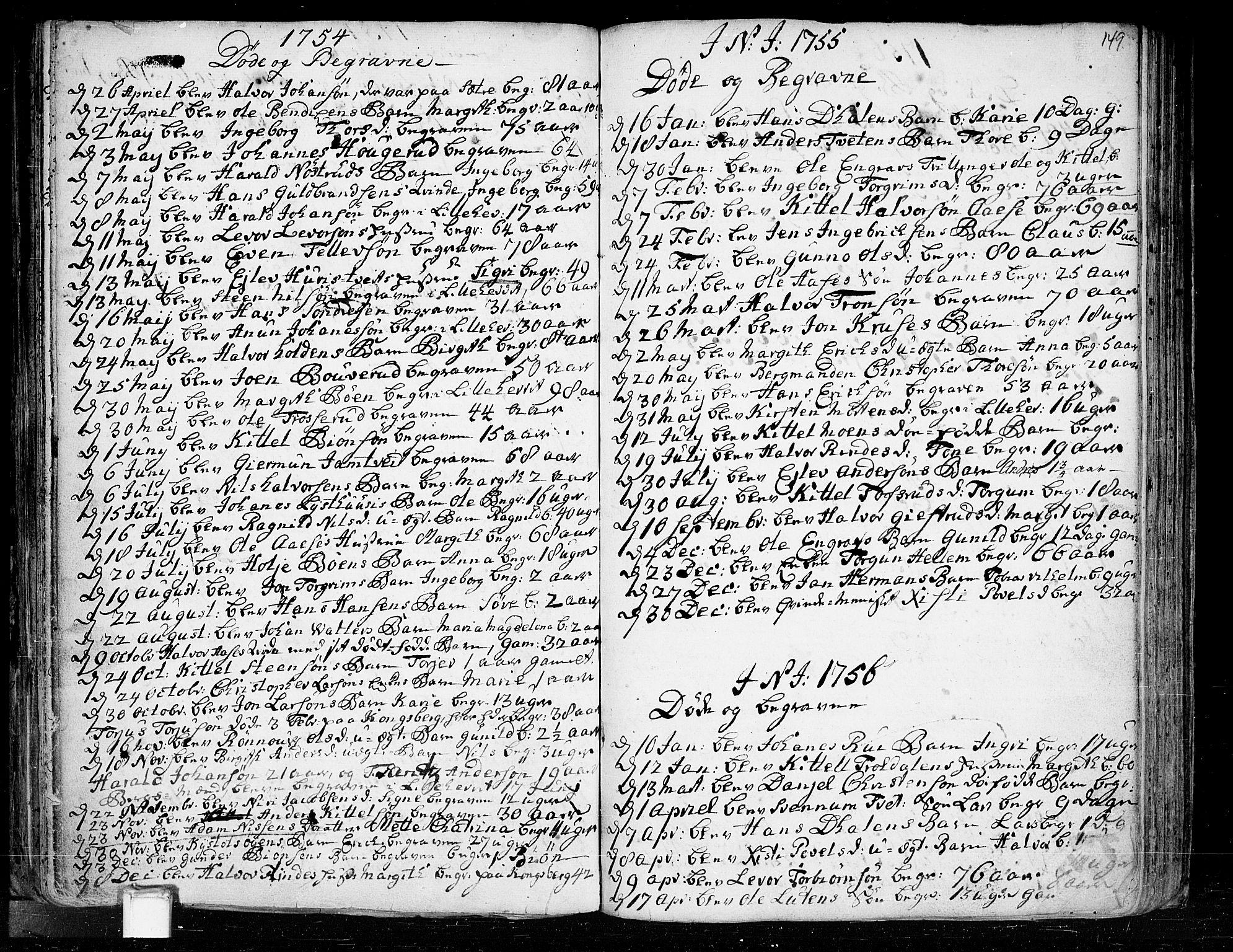 SAKO, Heddal kirkebøker, F/Fa/L0003: Ministerialbok nr. I 3, 1723-1783, s. 149