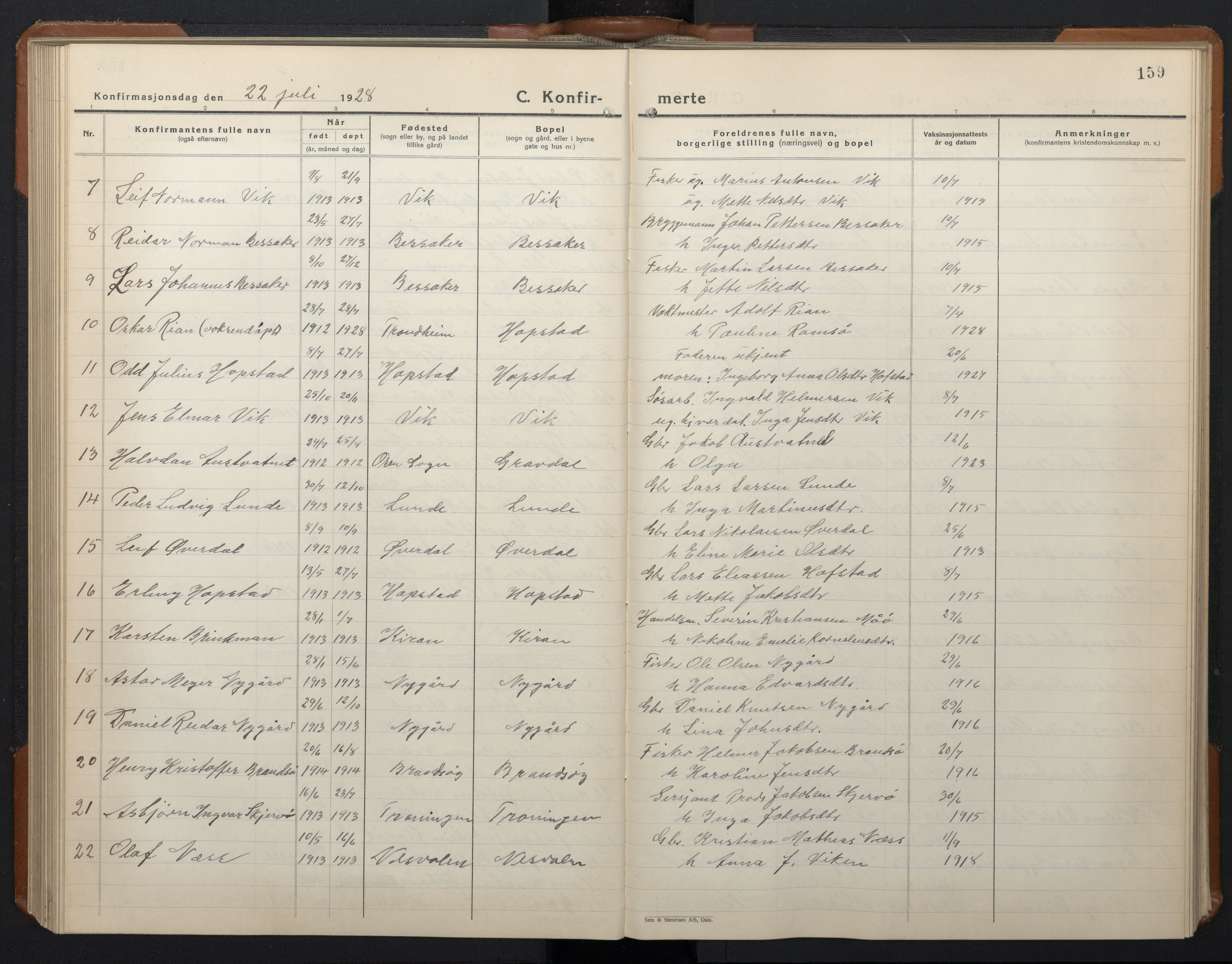 SAT, Ministerialprotokoller, klokkerbøker og fødselsregistre - Sør-Trøndelag, 657/L0718: Klokkerbok nr. 657C05, 1923-1948, s. 159