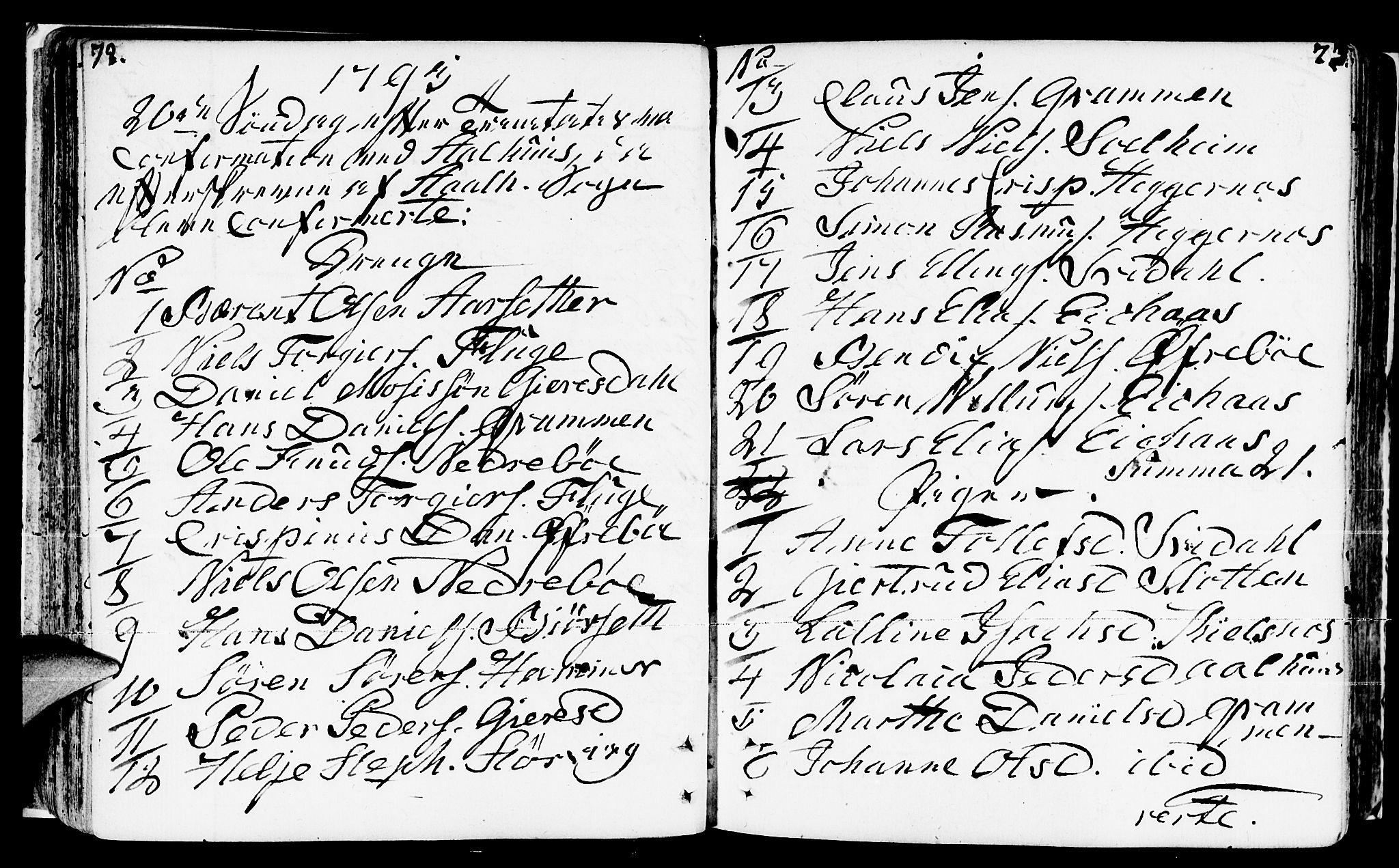 SAB, Jølster Sokneprestembete, Ministerialbok nr. A 5, 1790-1821, s. 72-73