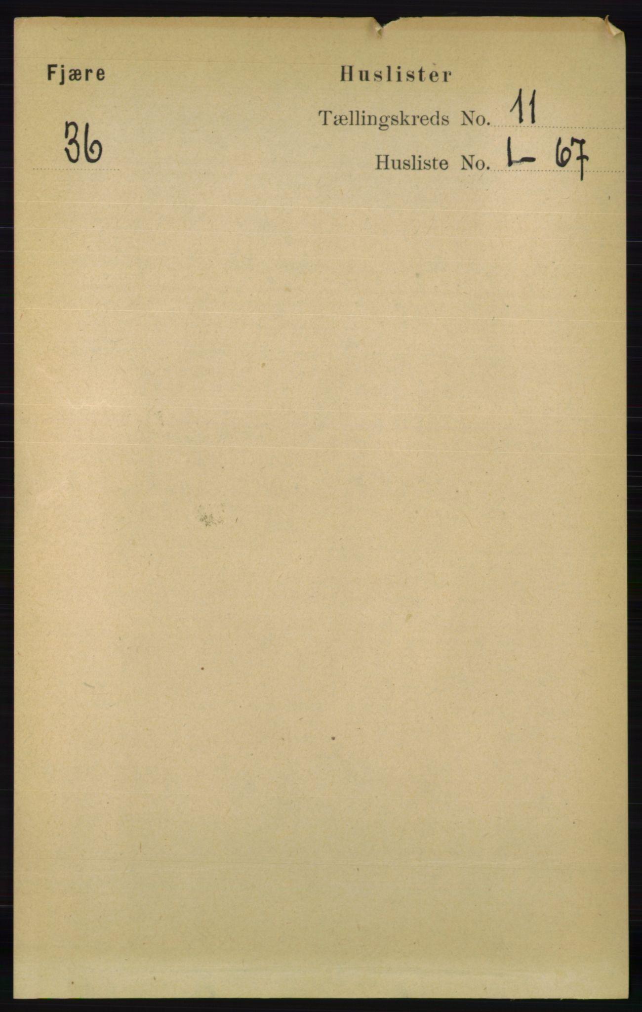 RA, Folketelling 1891 for 0923 Fjære herred, 1891, s. 5459