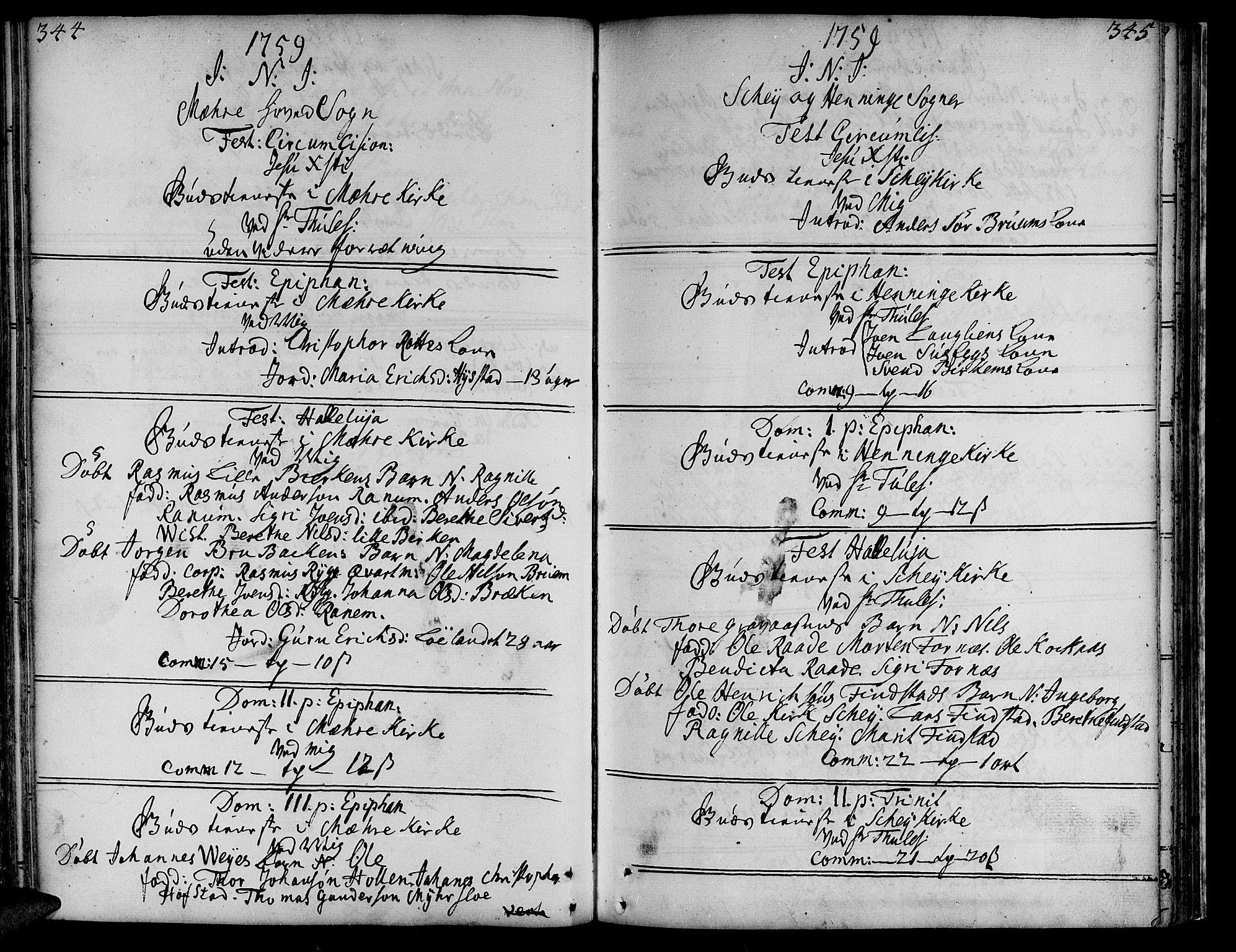 SAT, Ministerialprotokoller, klokkerbøker og fødselsregistre - Nord-Trøndelag, 735/L0330: Ministerialbok nr. 735A01, 1740-1766, s. 344-345
