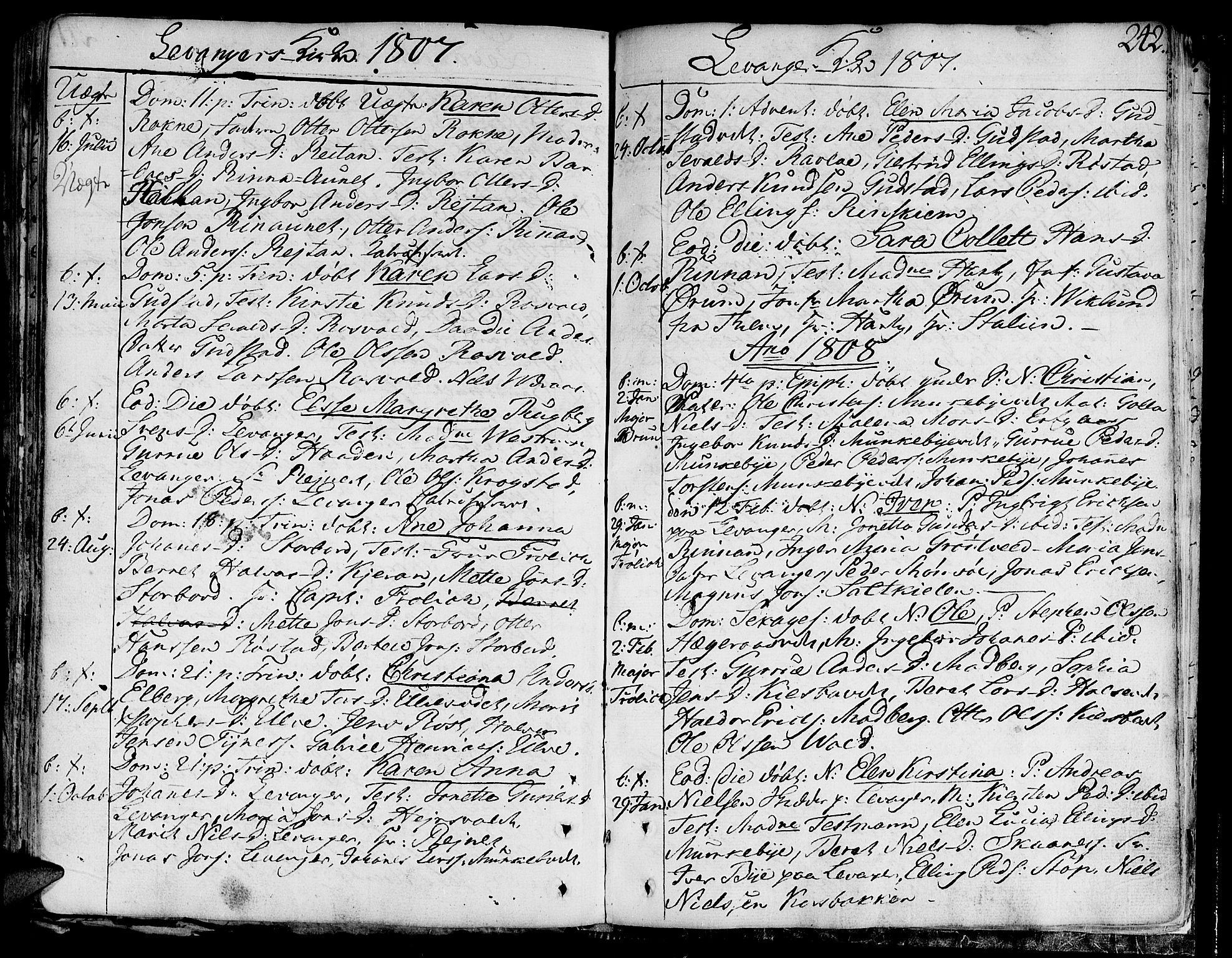 SAT, Ministerialprotokoller, klokkerbøker og fødselsregistre - Nord-Trøndelag, 717/L0144: Ministerialbok nr. 717A02 /3, 1805-1809, s. 242