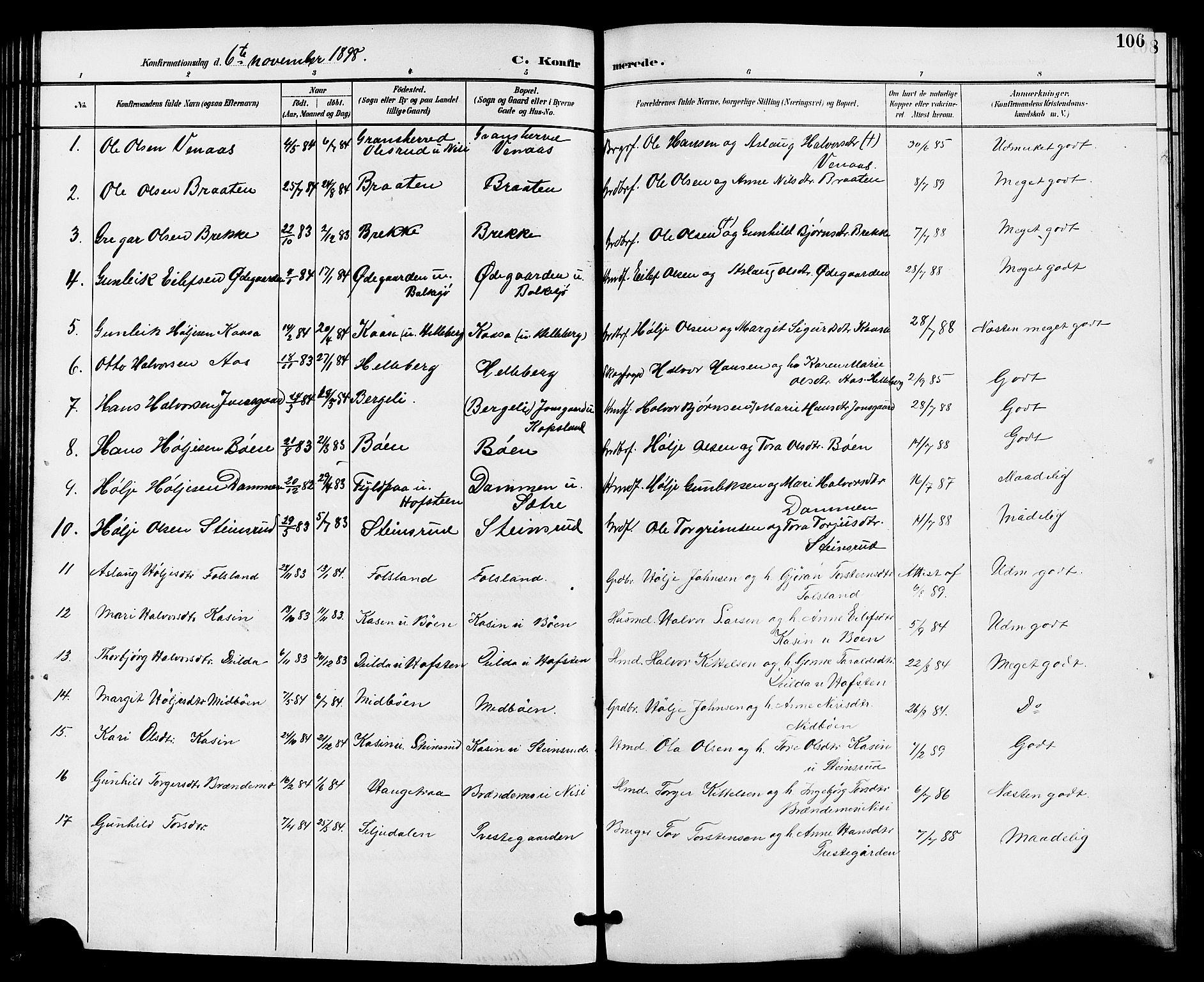 SAKO, Gransherad kirkebøker, G/Ga/L0003: Klokkerbok nr. I 3, 1887-1915, s. 106