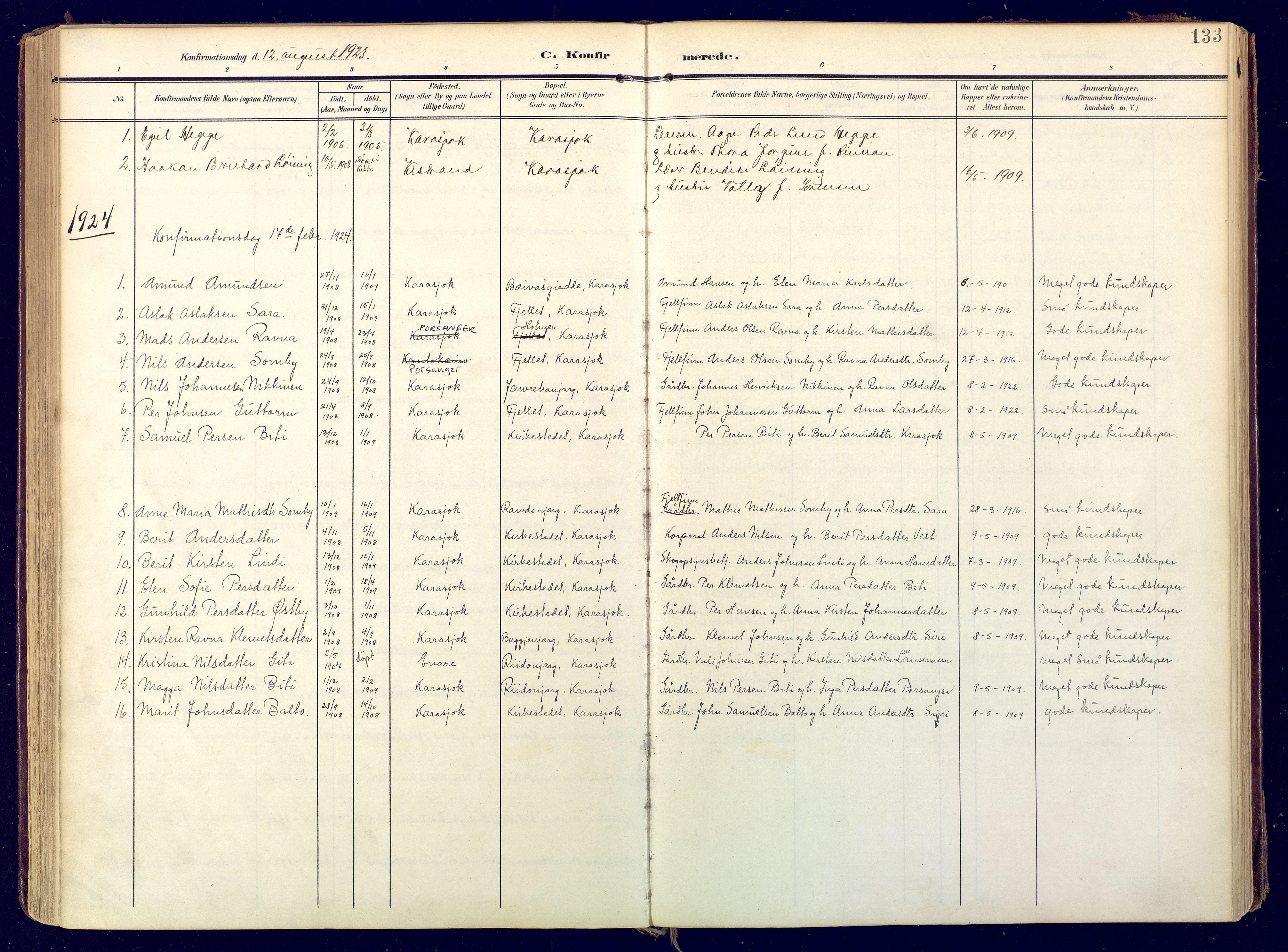 SATØ, Karasjok sokneprestkontor, H/Ha: Ministerialbok nr. 3, 1907-1926, s. 133