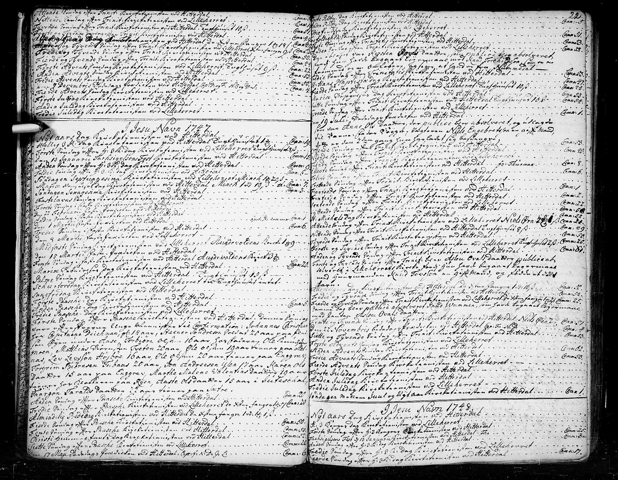 SAKO, Heddal kirkebøker, F/Fa/L0003: Ministerialbok nr. I 3, 1723-1783, s. 22