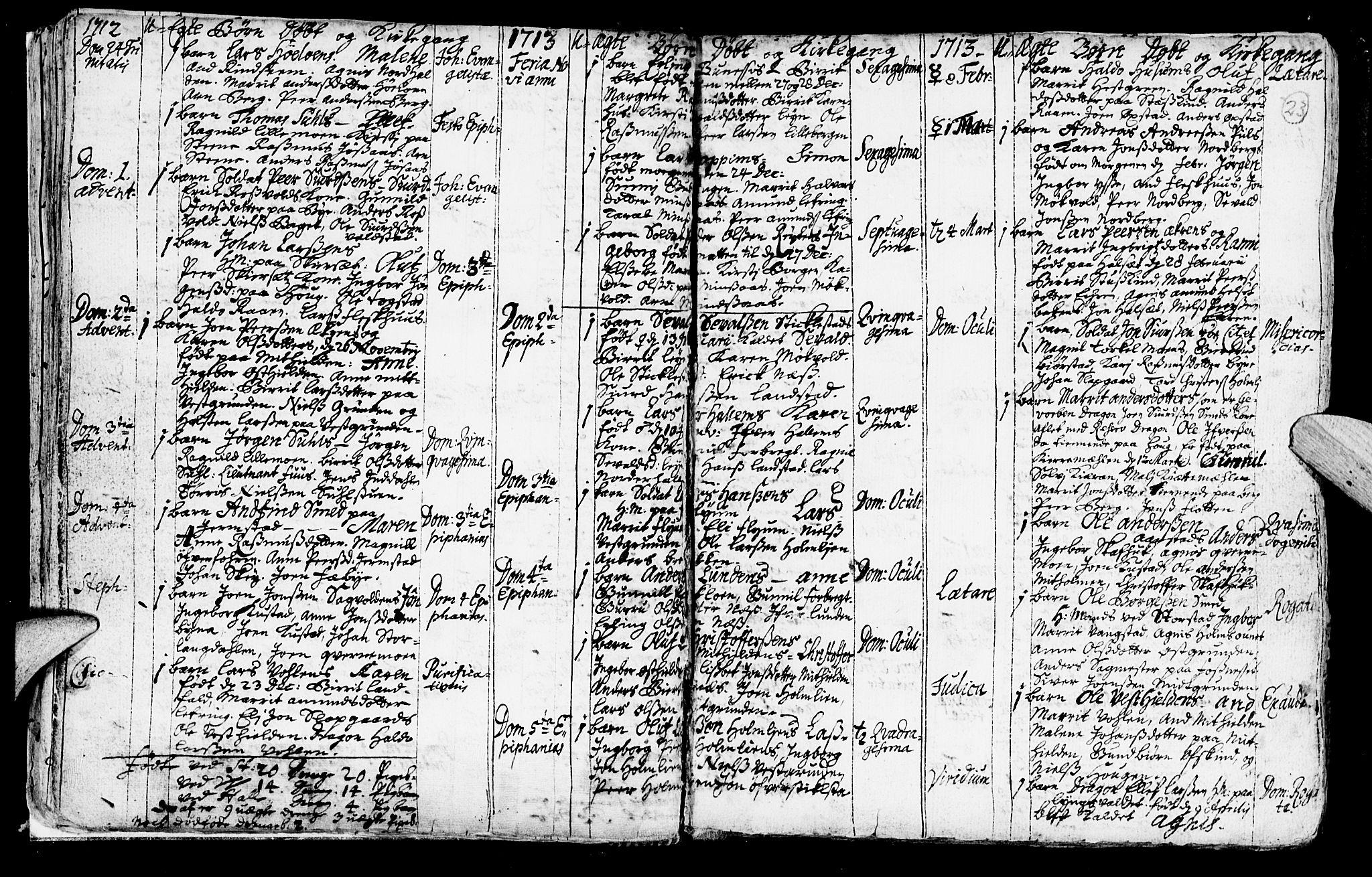 SAT, Ministerialprotokoller, klokkerbøker og fødselsregistre - Nord-Trøndelag, 723/L0230: Ministerialbok nr. 723A01, 1705-1747, s. 23