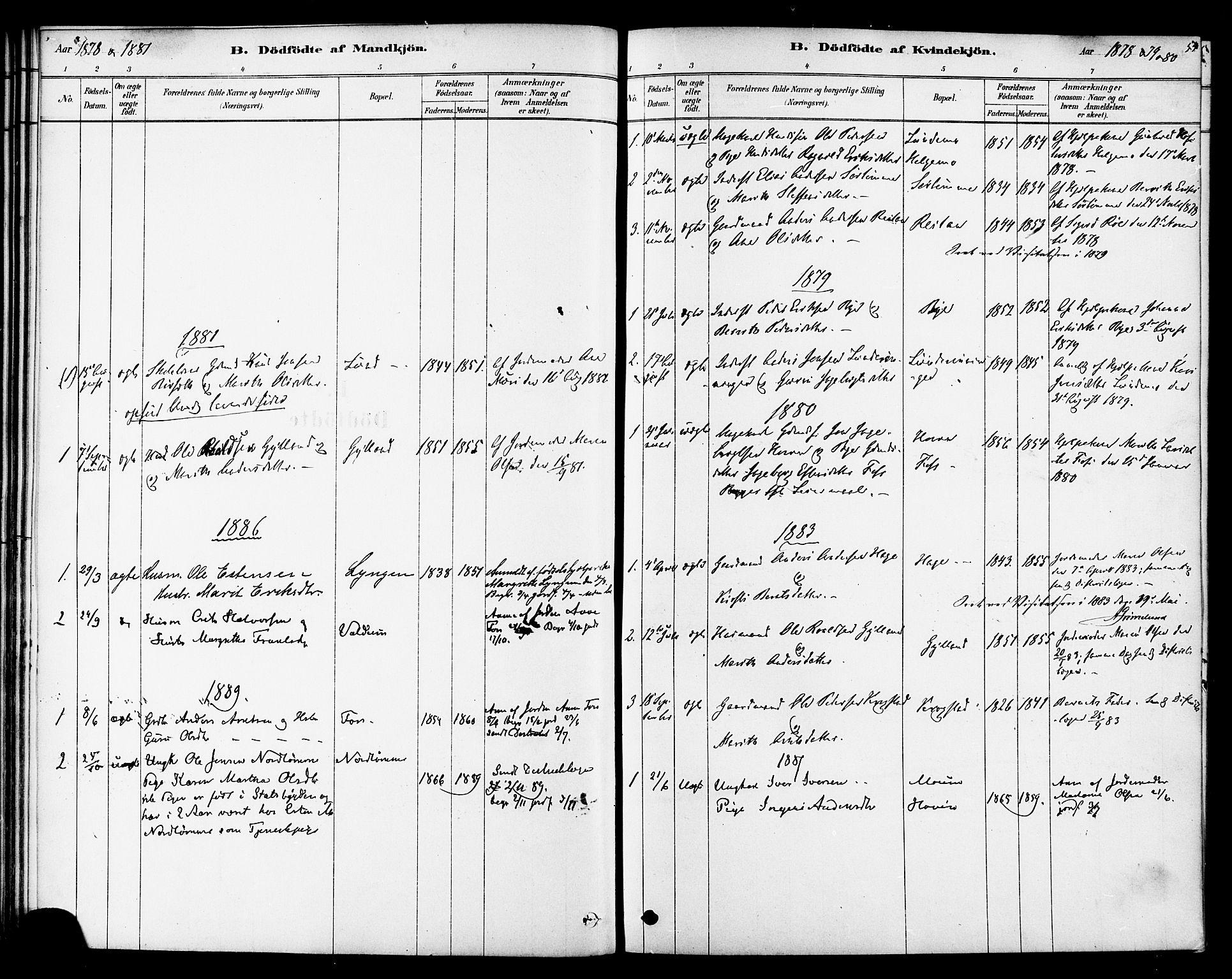 SAT, Ministerialprotokoller, klokkerbøker og fødselsregistre - Sør-Trøndelag, 692/L1105: Ministerialbok nr. 692A05, 1878-1890, s. 54