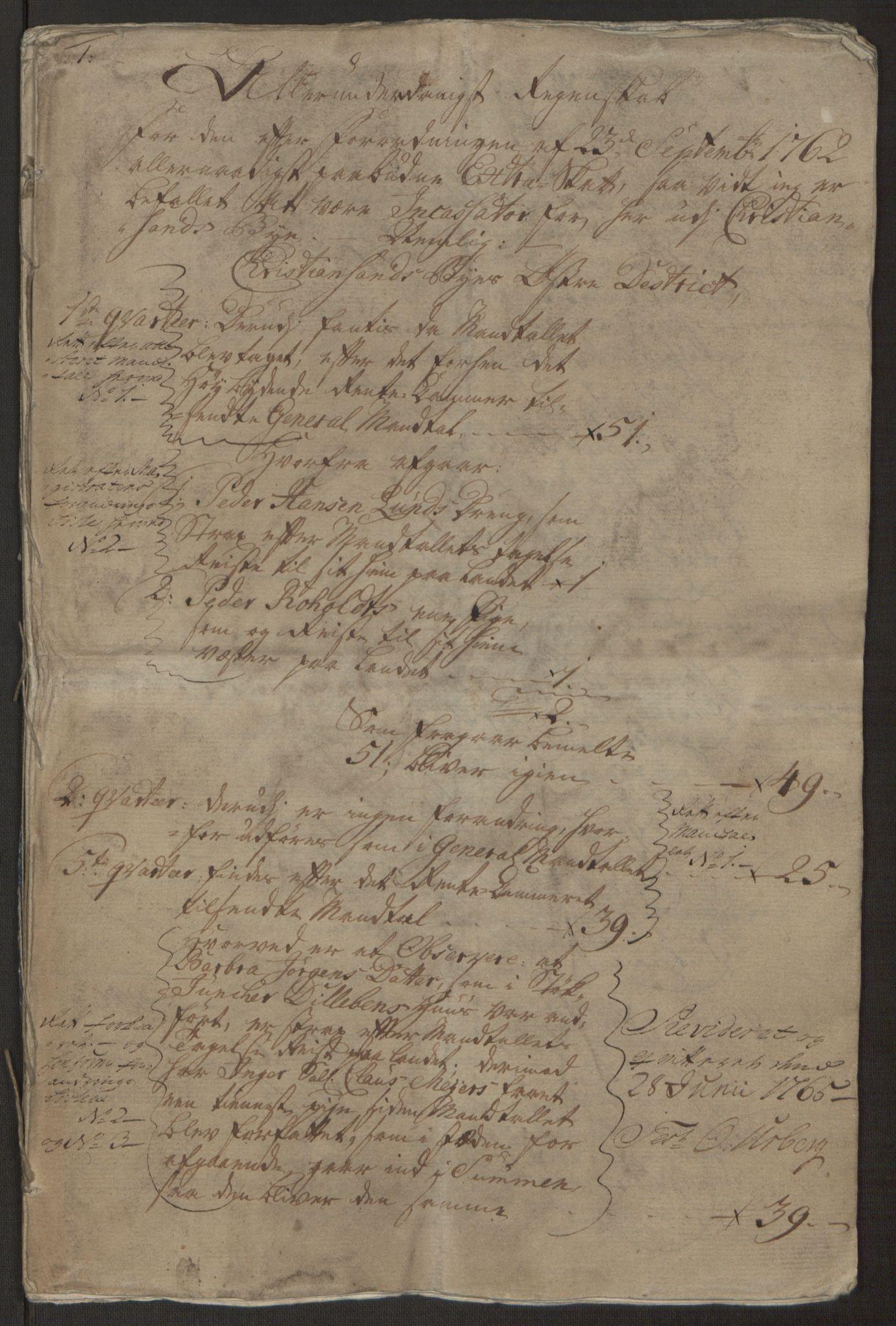 RA, Rentekammeret inntil 1814, Reviderte regnskaper, Byregnskaper, R/Rm/L0265: [M6] Kontribusjonsregnskap, 1762-1764, s. 4