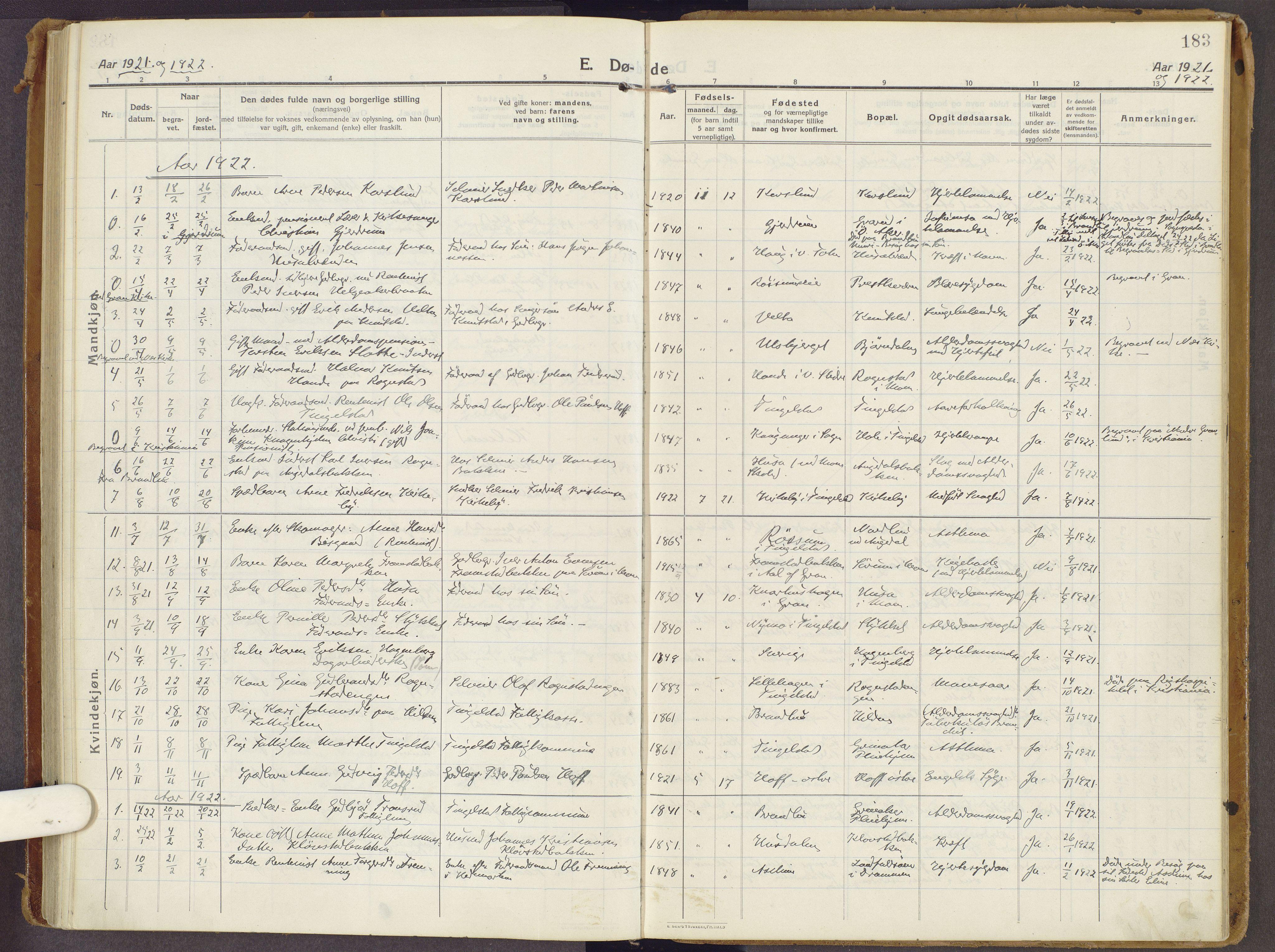 SAH, Brandbu prestekontor, Ministerialbok nr. 3, 1914-1928, s. 183