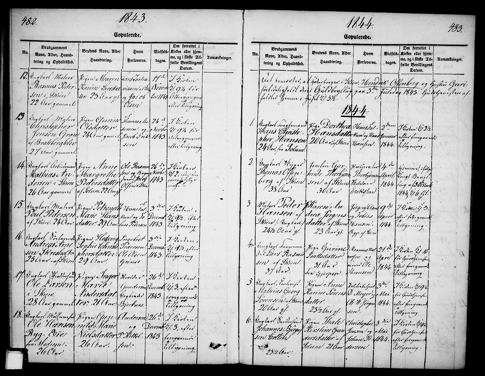 SAKO, Skien kirkebøker, G/Ga/L0003: Klokkerbok nr. 3, 1843-1847, s. 482-483