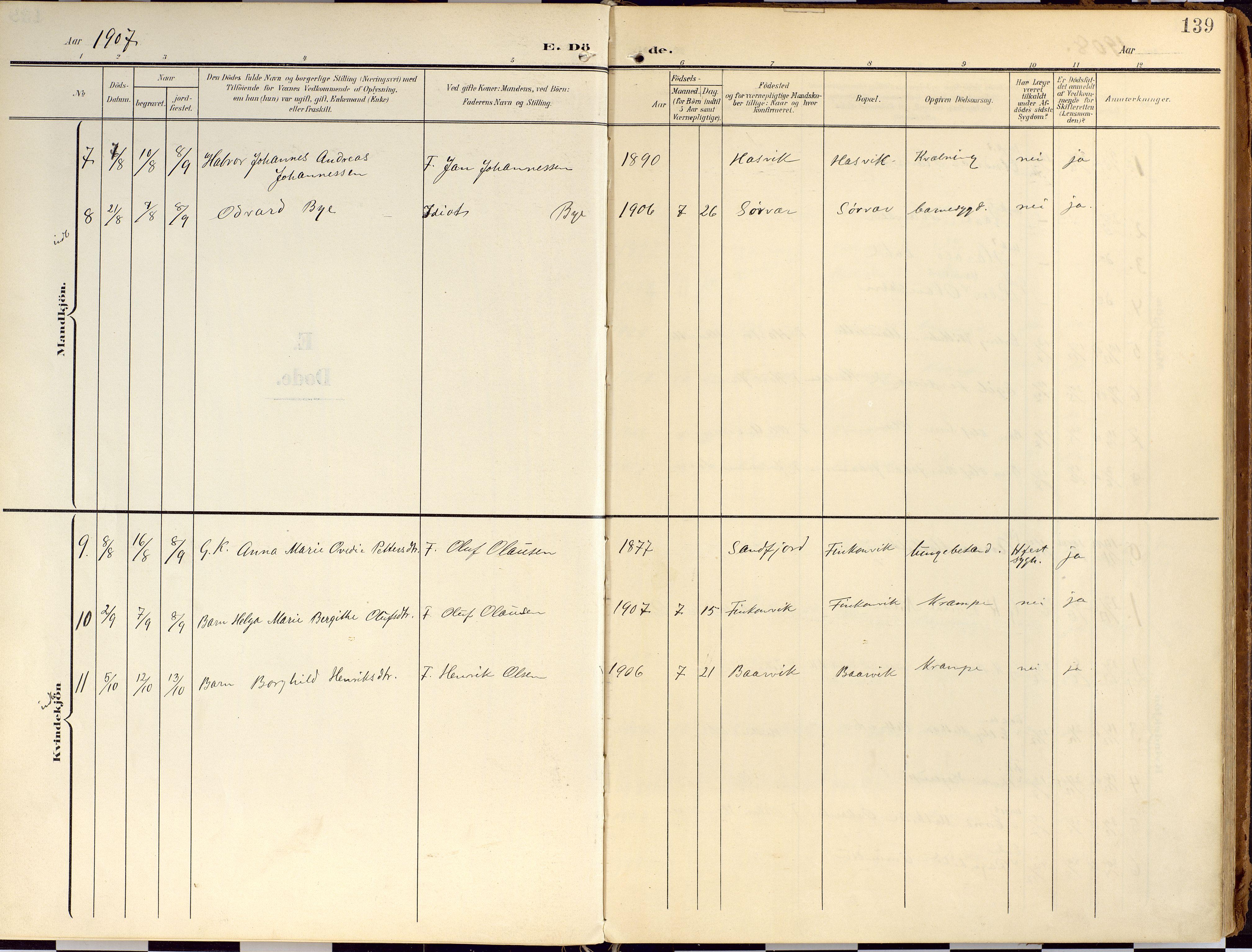 SATØ, Loppa sokneprestkontor, H/Ha/L0010kirke: Ministerialbok nr. 10, 1907-1922, s. 139
