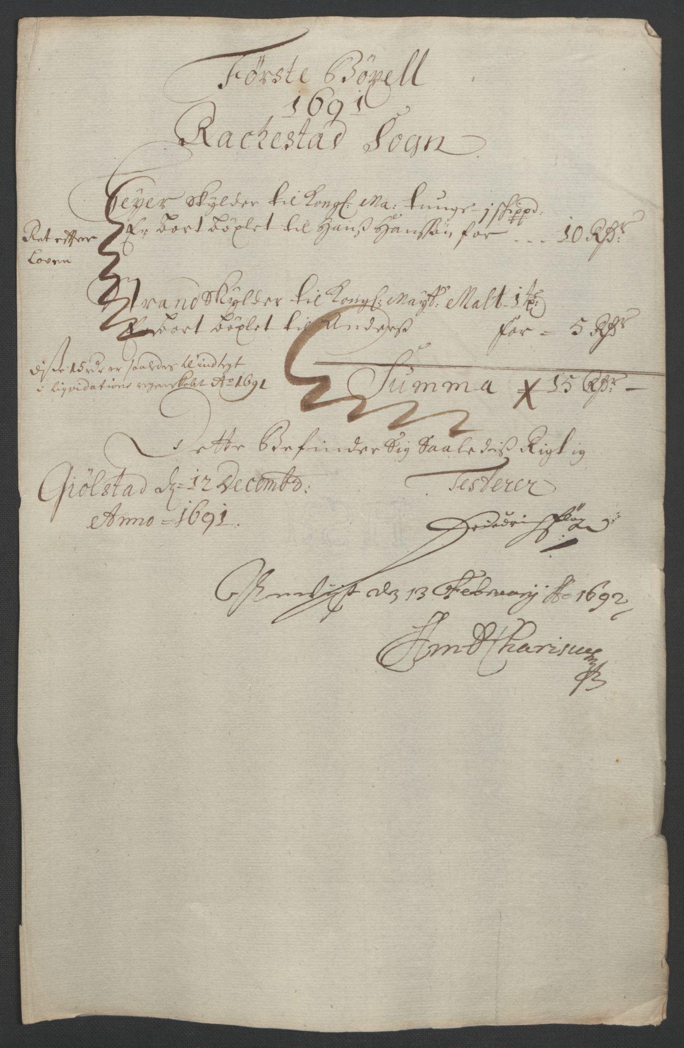 RA, Rentekammeret inntil 1814, Reviderte regnskaper, Fogderegnskap, R05/L0278: Fogderegnskap Rakkestad, 1691-1693, s. 16