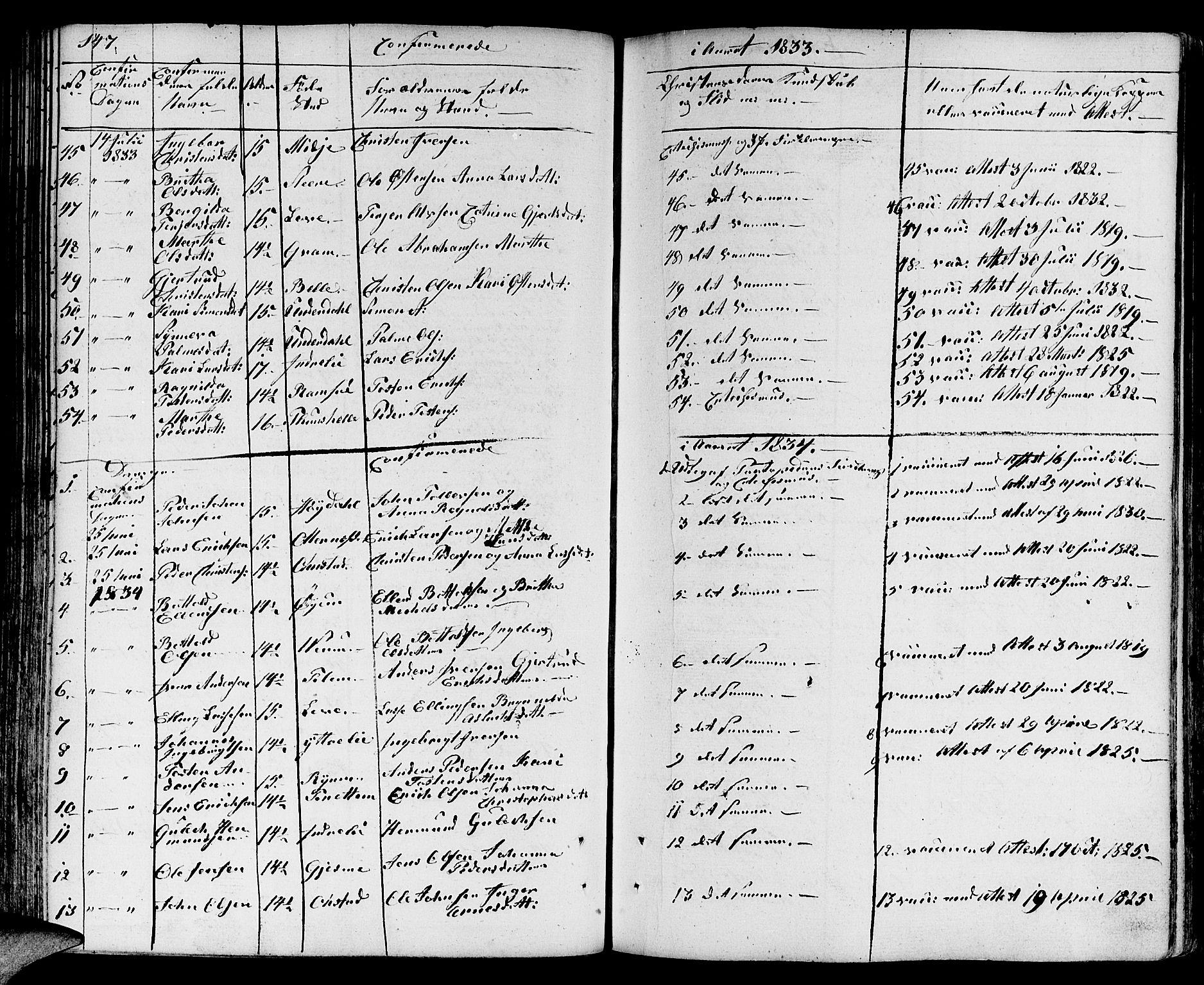 SAB, Aurland Sokneprestembete*, Ministerialbok nr. A 6, 1821-1859, s. 147