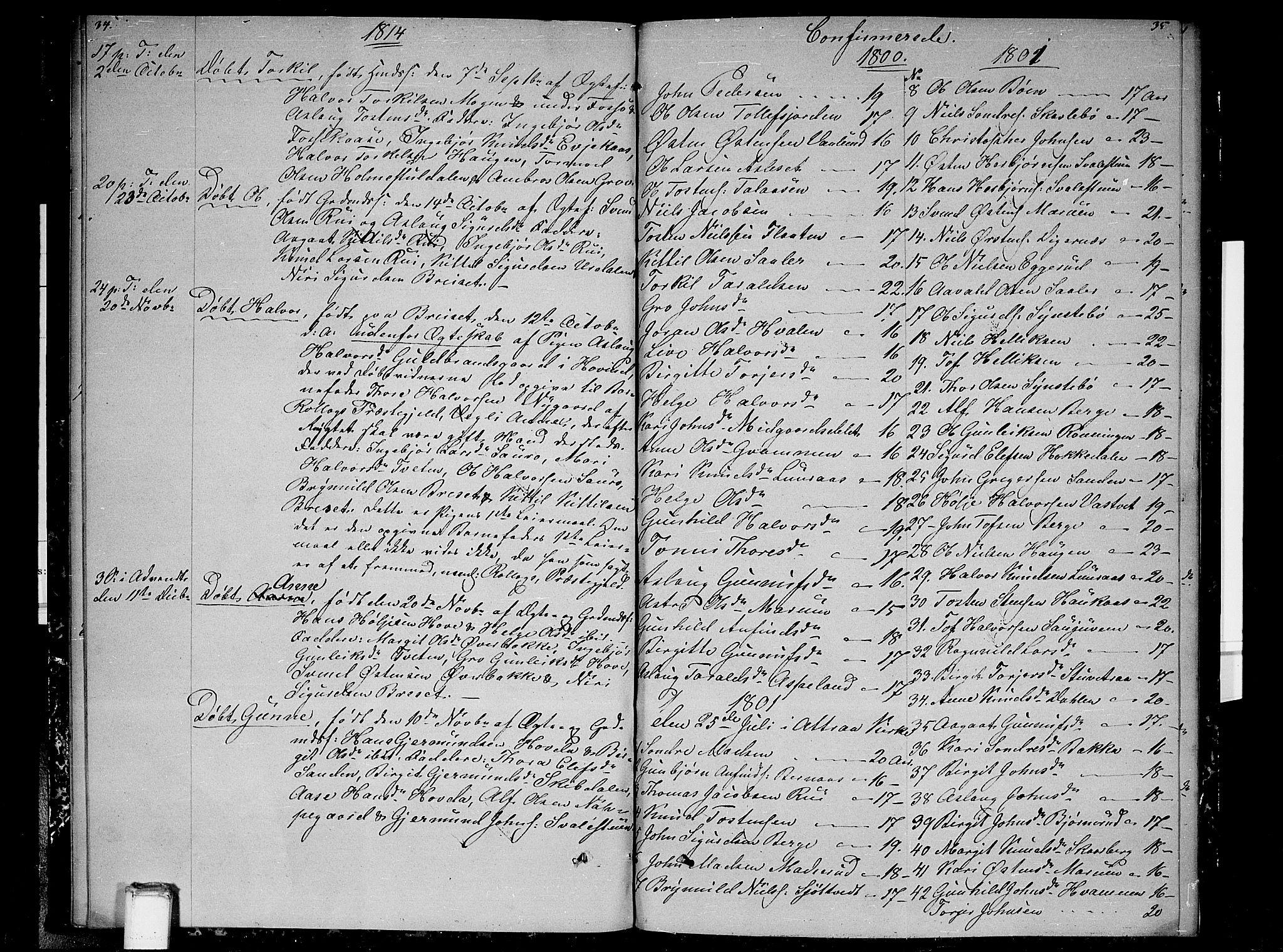 SAKO, Gransherad kirkebøker, F/Fb/L0001: Ministerialbok nr. II 1, 1800-1814, s. 34-35