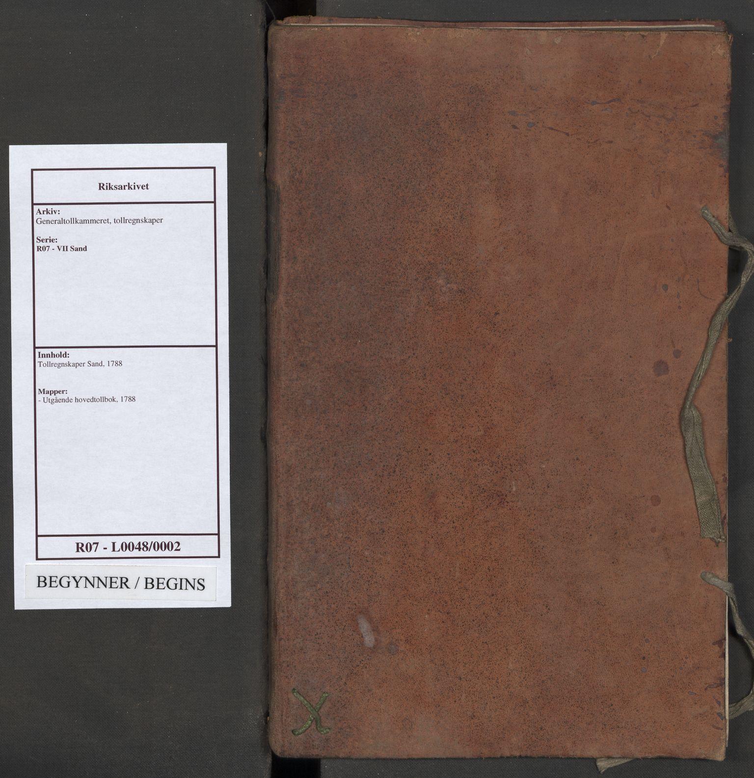 RA, Generaltollkammeret, tollregnskaper, R07/L0048: Tollregnskaper Sand, 1788
