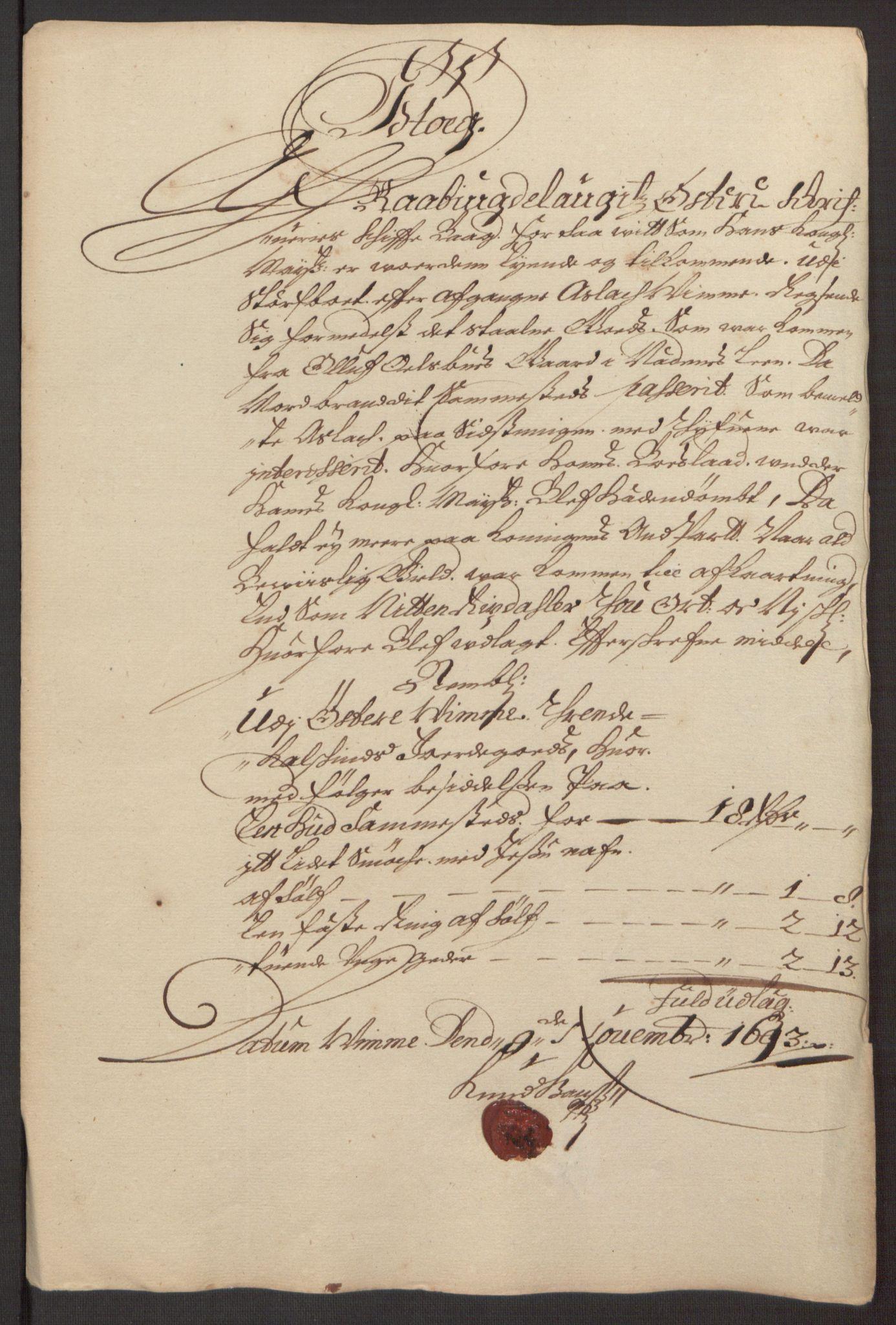 RA, Rentekammeret inntil 1814, Reviderte regnskaper, Fogderegnskap, R40/L2444: Fogderegnskap Råbyggelag, 1693-1696, s. 30