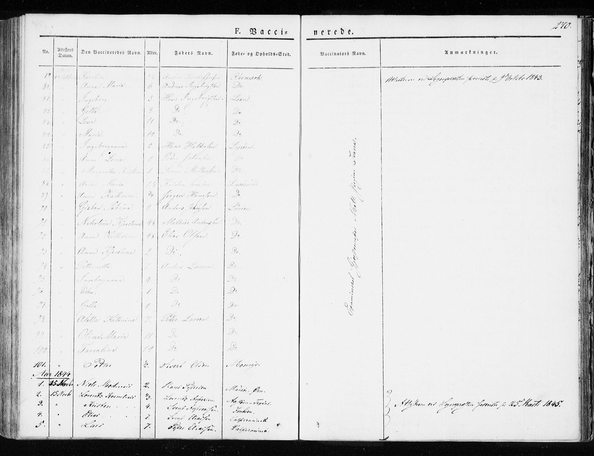 SAT, Ministerialprotokoller, klokkerbøker og fødselsregistre - Sør-Trøndelag, 655/L0676: Ministerialbok nr. 655A05, 1830-1847, s. 270