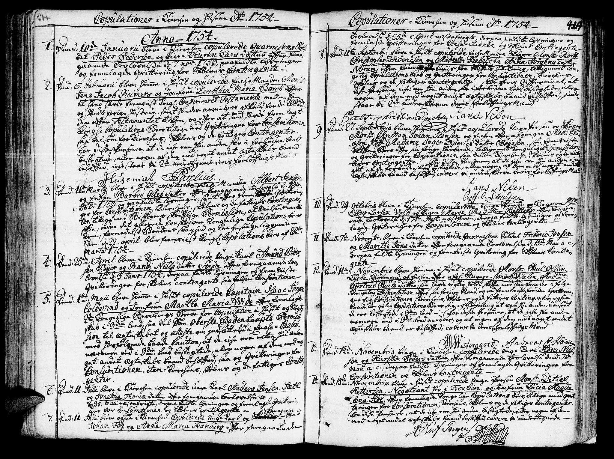 SAT, Ministerialprotokoller, klokkerbøker og fødselsregistre - Sør-Trøndelag, 602/L0103: Ministerialbok nr. 602A01, 1732-1774, s. 414