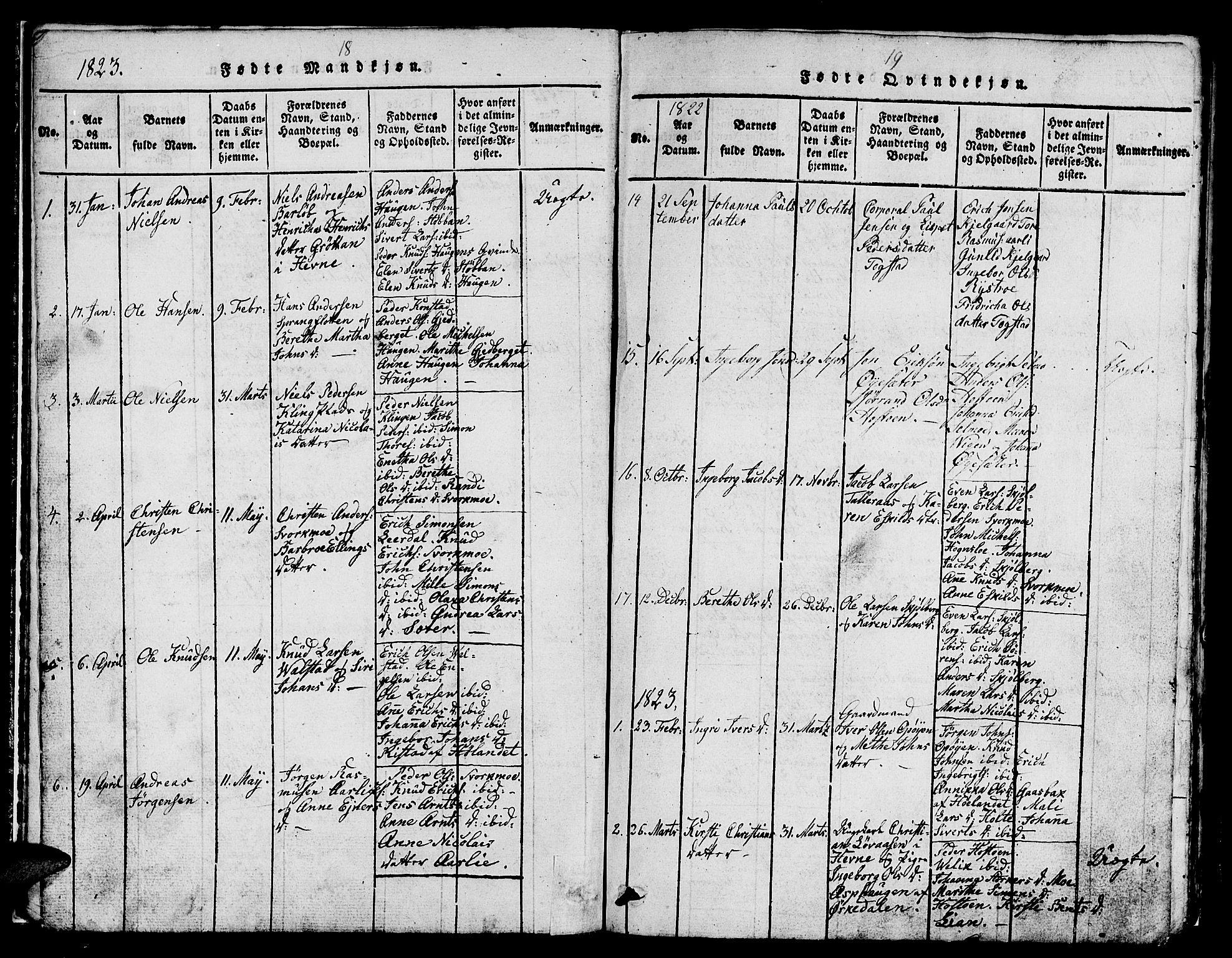 SAT, Ministerialprotokoller, klokkerbøker og fødselsregistre - Sør-Trøndelag, 671/L0842: Klokkerbok nr. 671C01, 1816-1867, s. 18-19