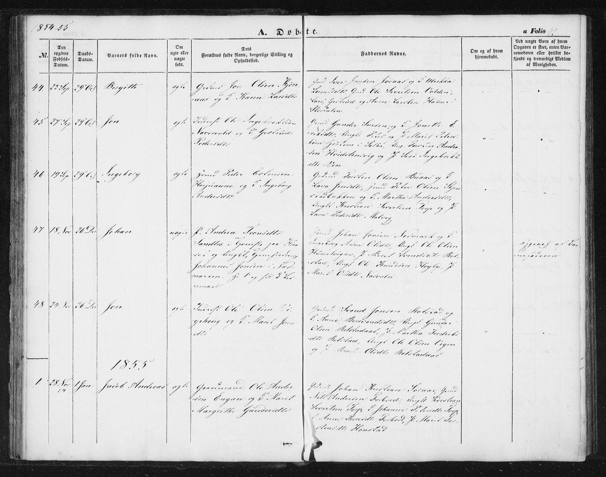 SAT, Ministerialprotokoller, klokkerbøker og fødselsregistre - Sør-Trøndelag, 616/L0407: Ministerialbok nr. 616A04, 1848-1856, s. 42