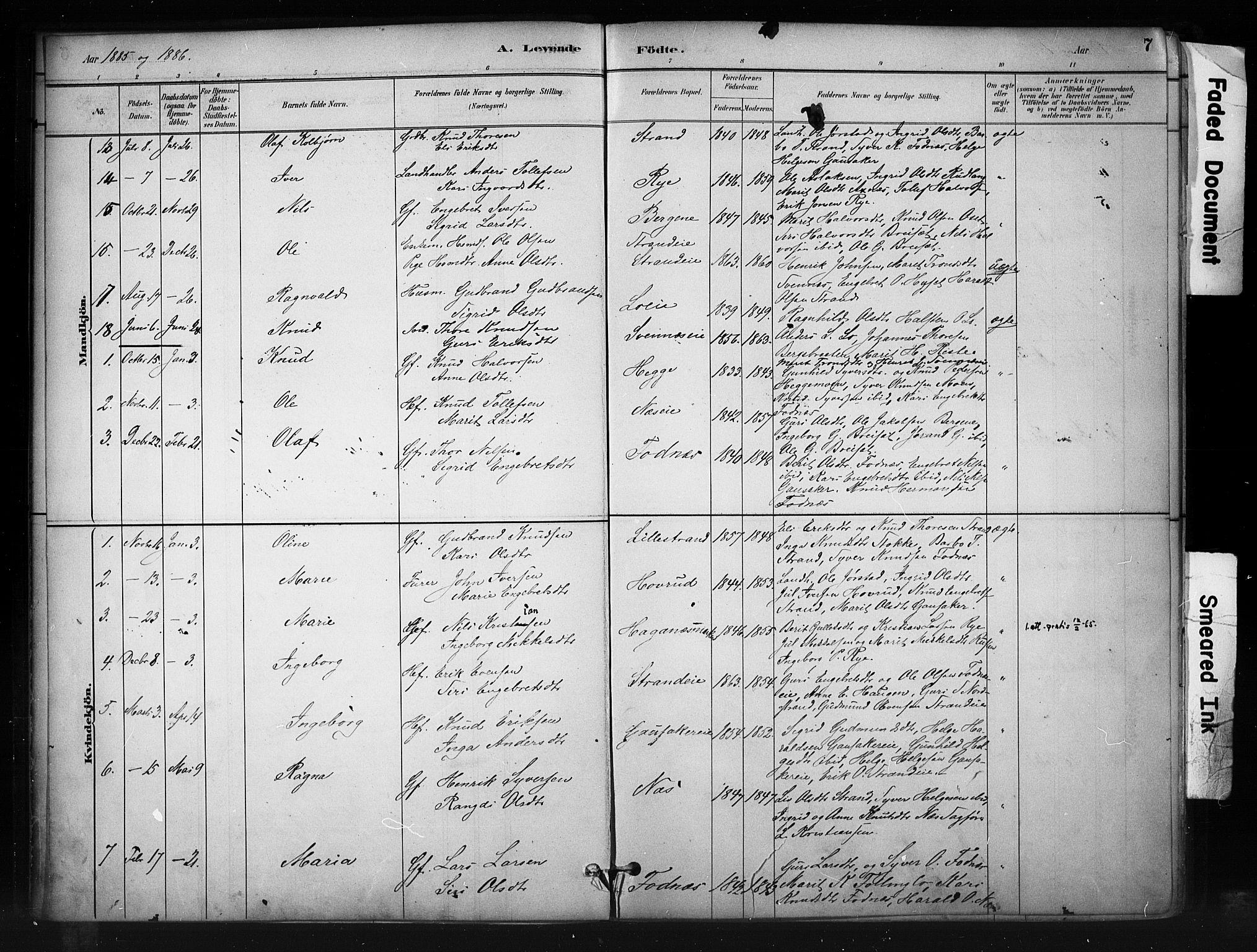 SAH, Nord-Aurdal prestekontor, Ministerialbok nr. 10, 1883-1896, s. 7