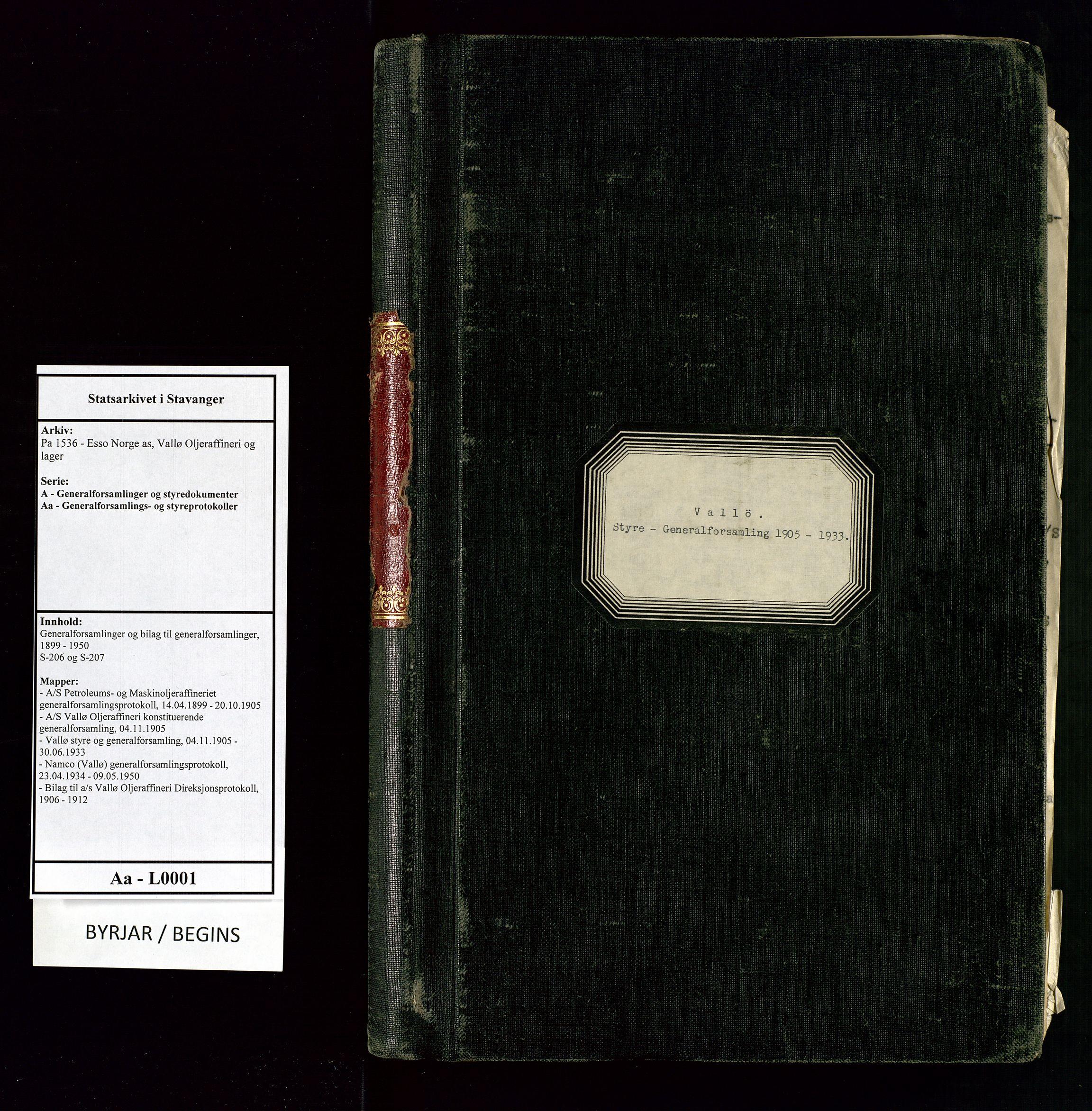 SAST, Pa 1536 - Esso Norge as, Vallø Oljeraffineri og lager, A/Aa/L0001: Generalforsamlinger og bilag til generalforsamlinger, 1905-1933, s. upaginert