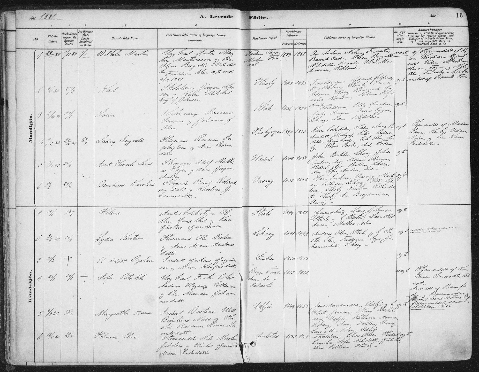 SAT, Ministerialprotokoller, klokkerbøker og fødselsregistre - Nordland, 888/L1244: Ministerialbok nr. 888A10, 1880-1890, s. 16