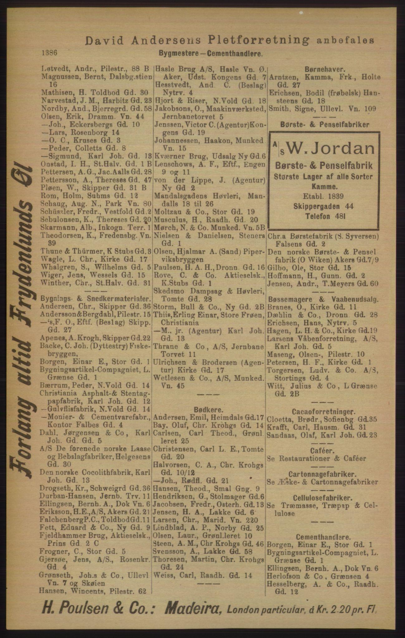 RA, Kristiania adressebok (publikasjon)*, 1906, s. 1386
