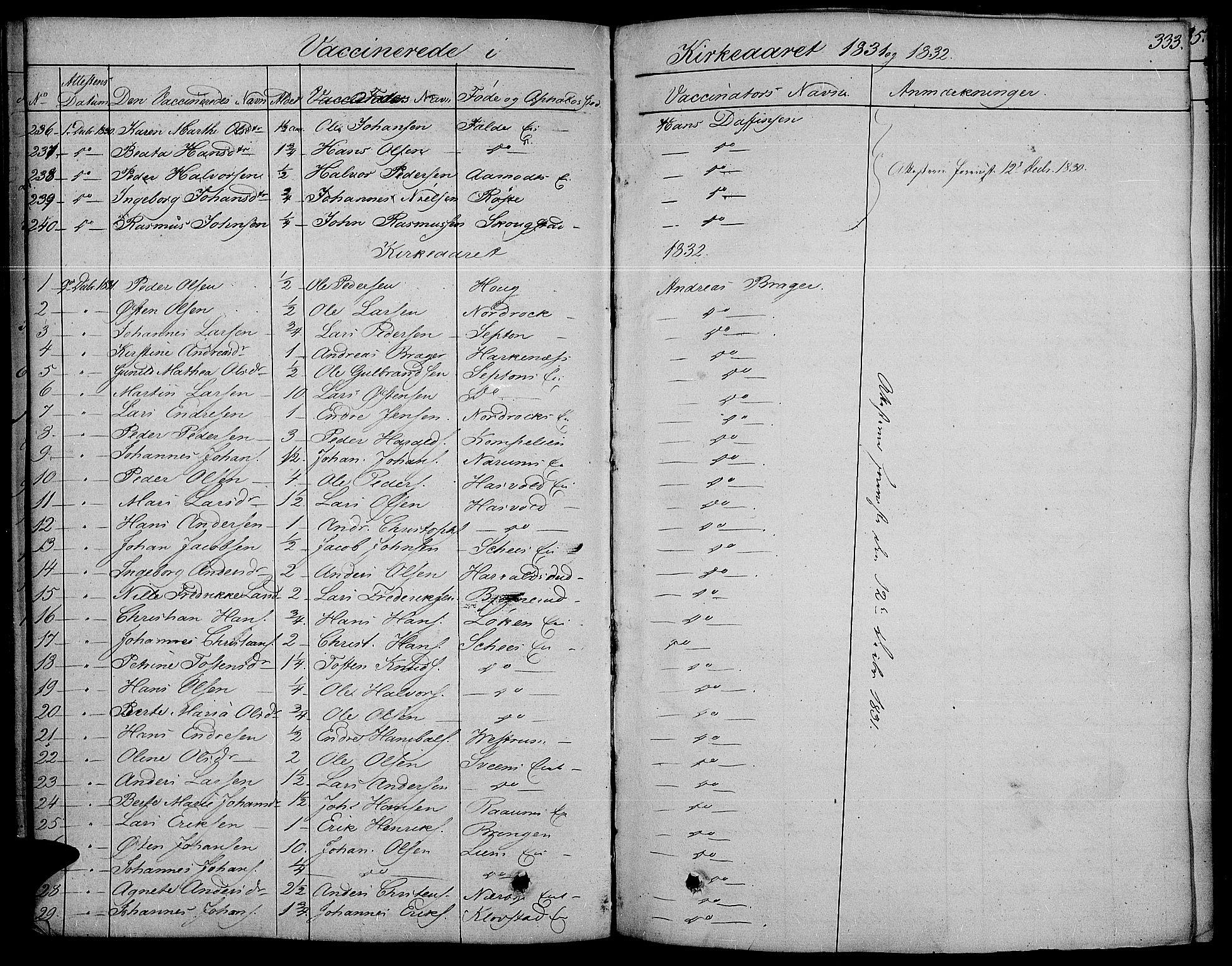 SAH, Land prestekontor, Ministerialbok nr. 8, 1830-1846, s. 333
