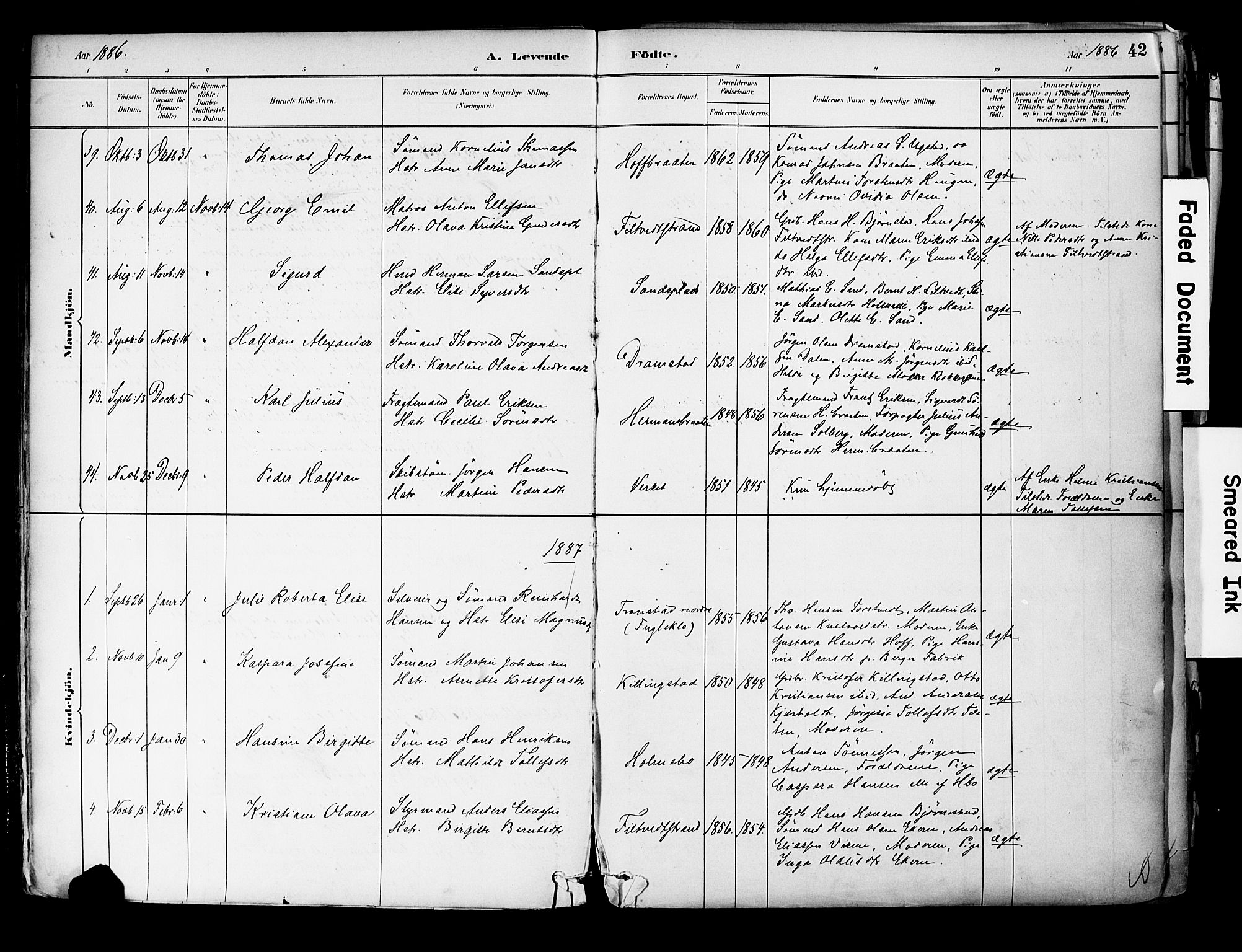 SAKO, Hurum kirkebøker, F/Fa/L0014: Ministerialbok nr. 14, 1882-1895, s. 42