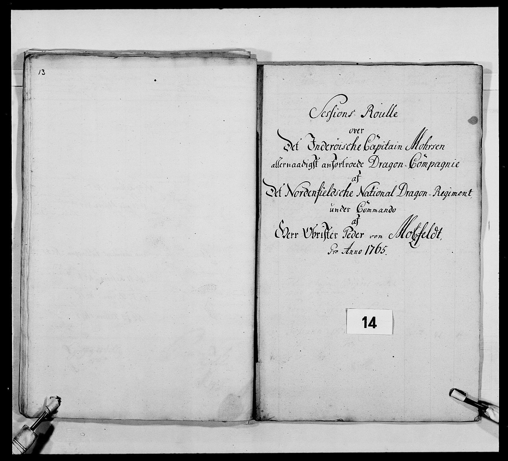 RA, Kommanderende general (KG I) med Det norske krigsdirektorium, E/Ea/L0483: Nordafjelske dragonregiment, 1765-1767, s. 315