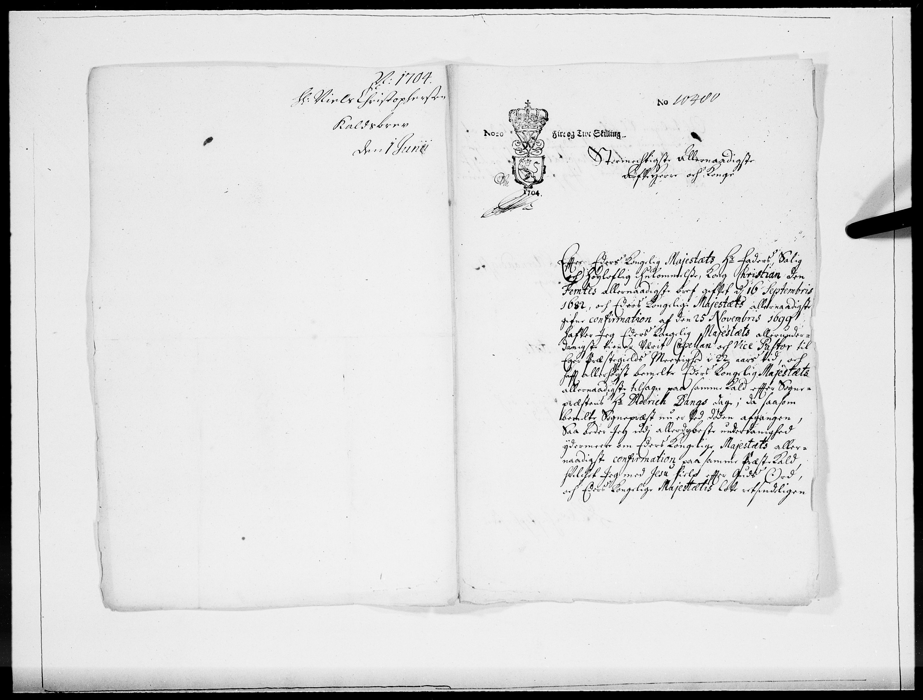 RA, Danske Kanselli 1572-1799, F/Fc/Fcc/Fcca/L0057: Norske innlegg 1572-1799, 1704, s. 45