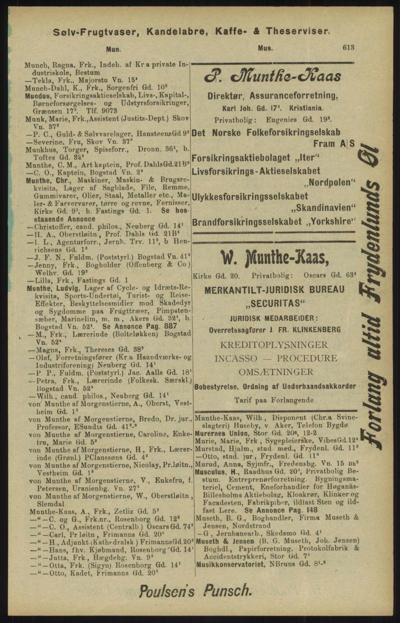 RA, Kristiania adressebok (publikasjon)*, 1904, s. 613
