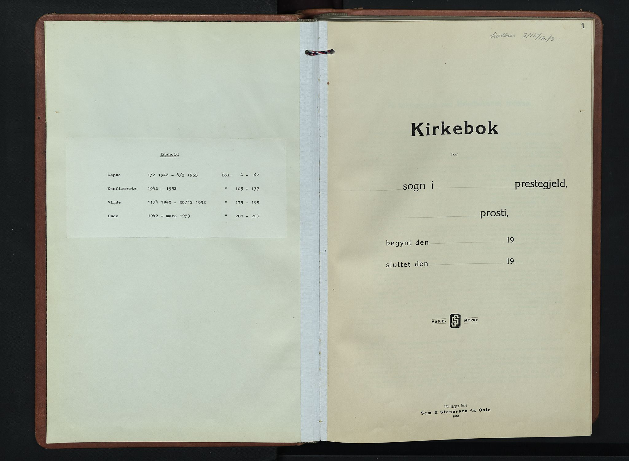 SAH, Kolbu prestekontor, Klokkerbok nr. 4, 1942-1953, s. 1