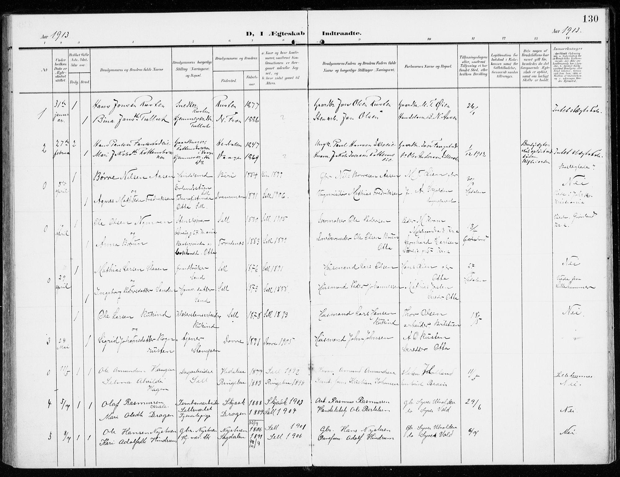 SAH, Sel prestekontor, Ministerialbok nr. 2, 1905-1919, s. 130
