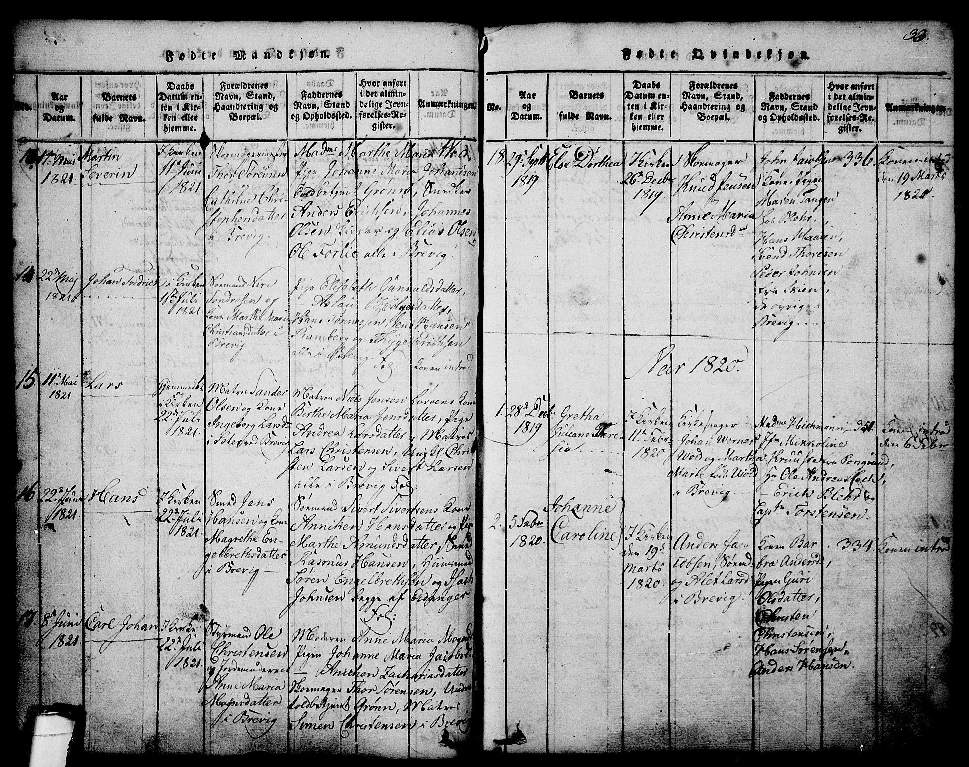 SAKO, Brevik kirkebøker, G/Ga/L0001: Klokkerbok nr. 1, 1814-1845, s. 33