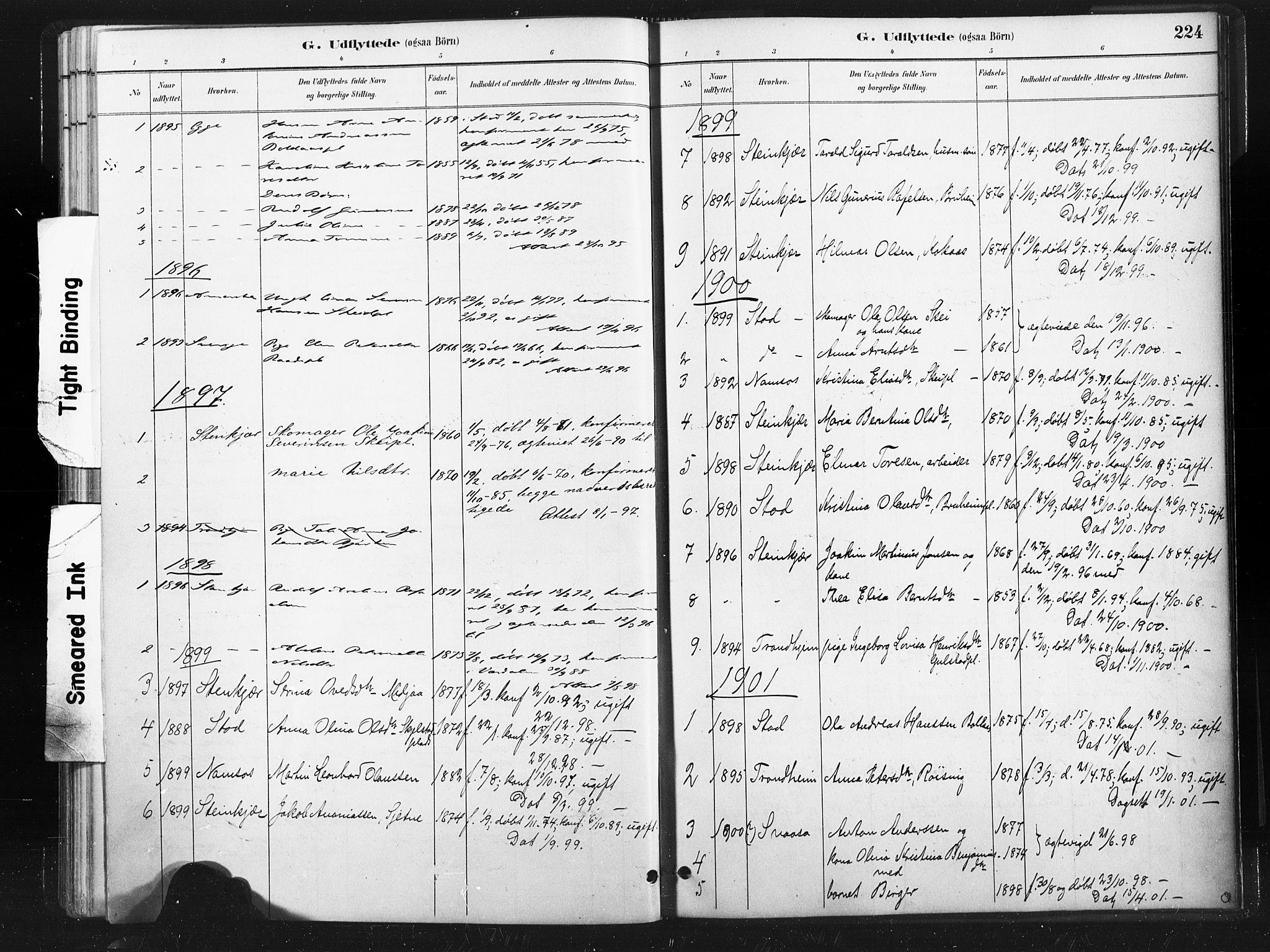 SAT, Ministerialprotokoller, klokkerbøker og fødselsregistre - Nord-Trøndelag, 736/L0361: Ministerialbok nr. 736A01, 1884-1906, s. 224