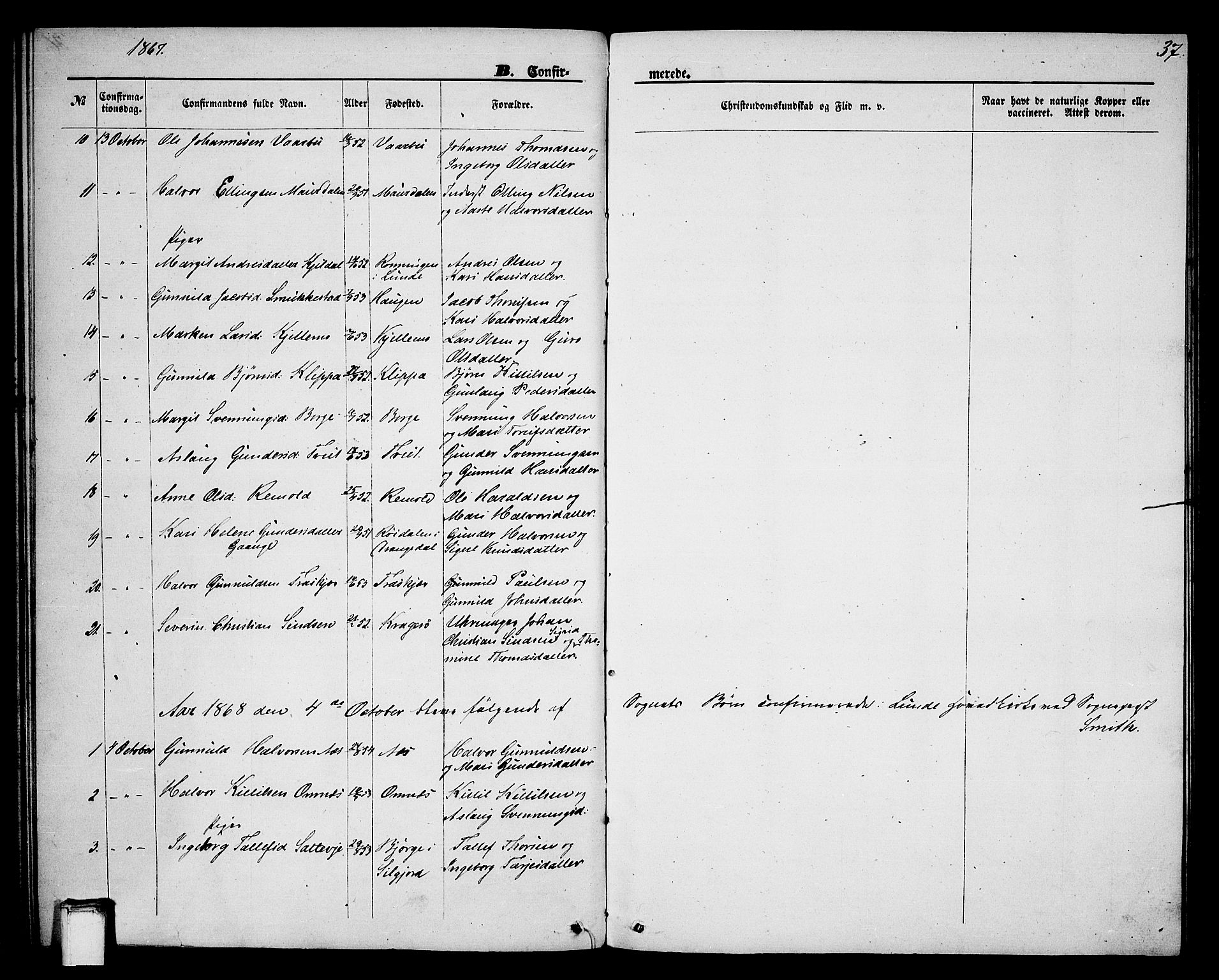 SAKO, Lunde kirkebøker, G/Gb/L0001: Klokkerbok nr. II 1, 1866-1887, s. 37