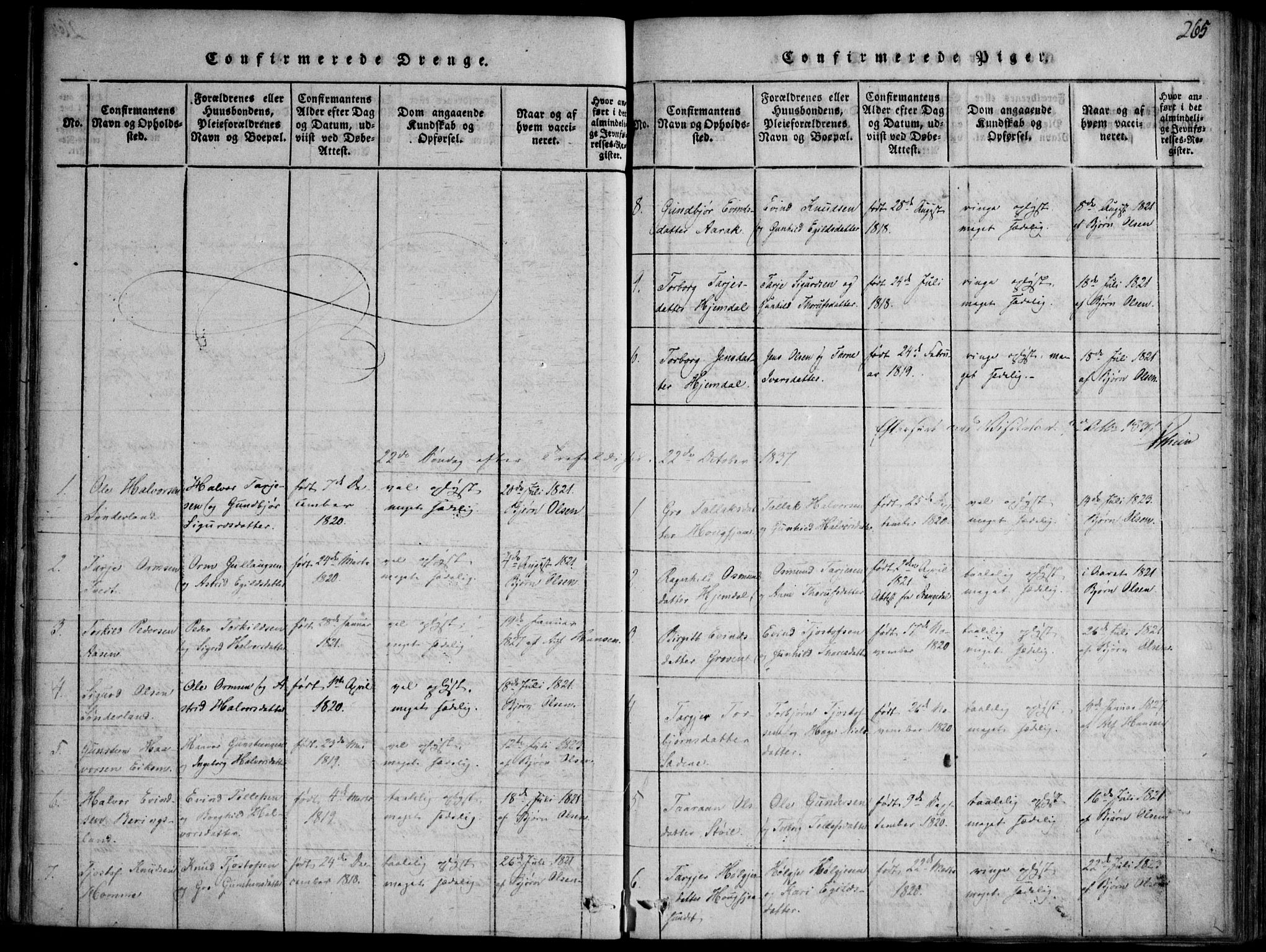 SAKO, Nissedal kirkebøker, F/Fb/L0001: Ministerialbok nr. II 1, 1814-1845, s. 265