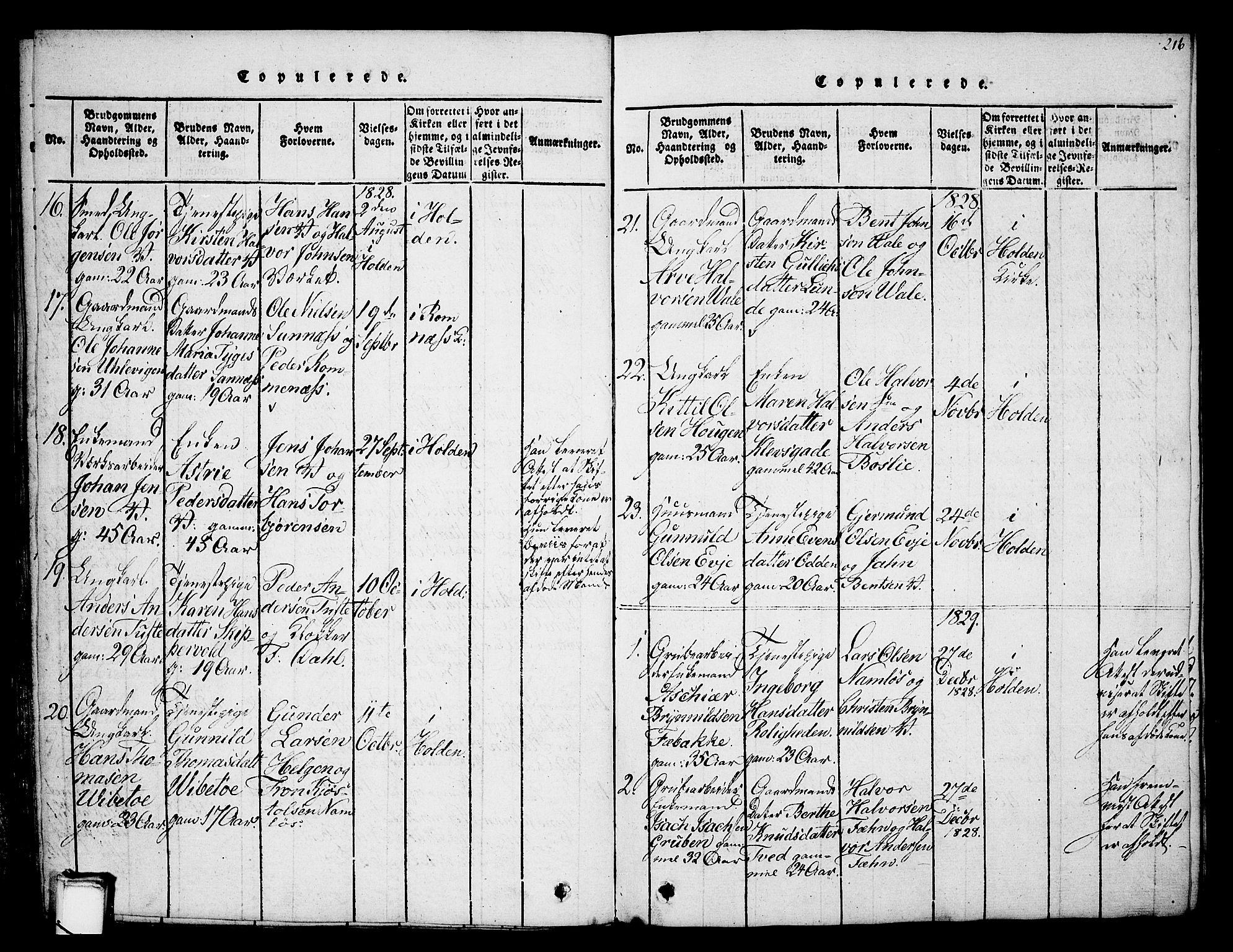 SAKO, Holla kirkebøker, G/Ga/L0001: Klokkerbok nr. I 1, 1814-1830, s. 216