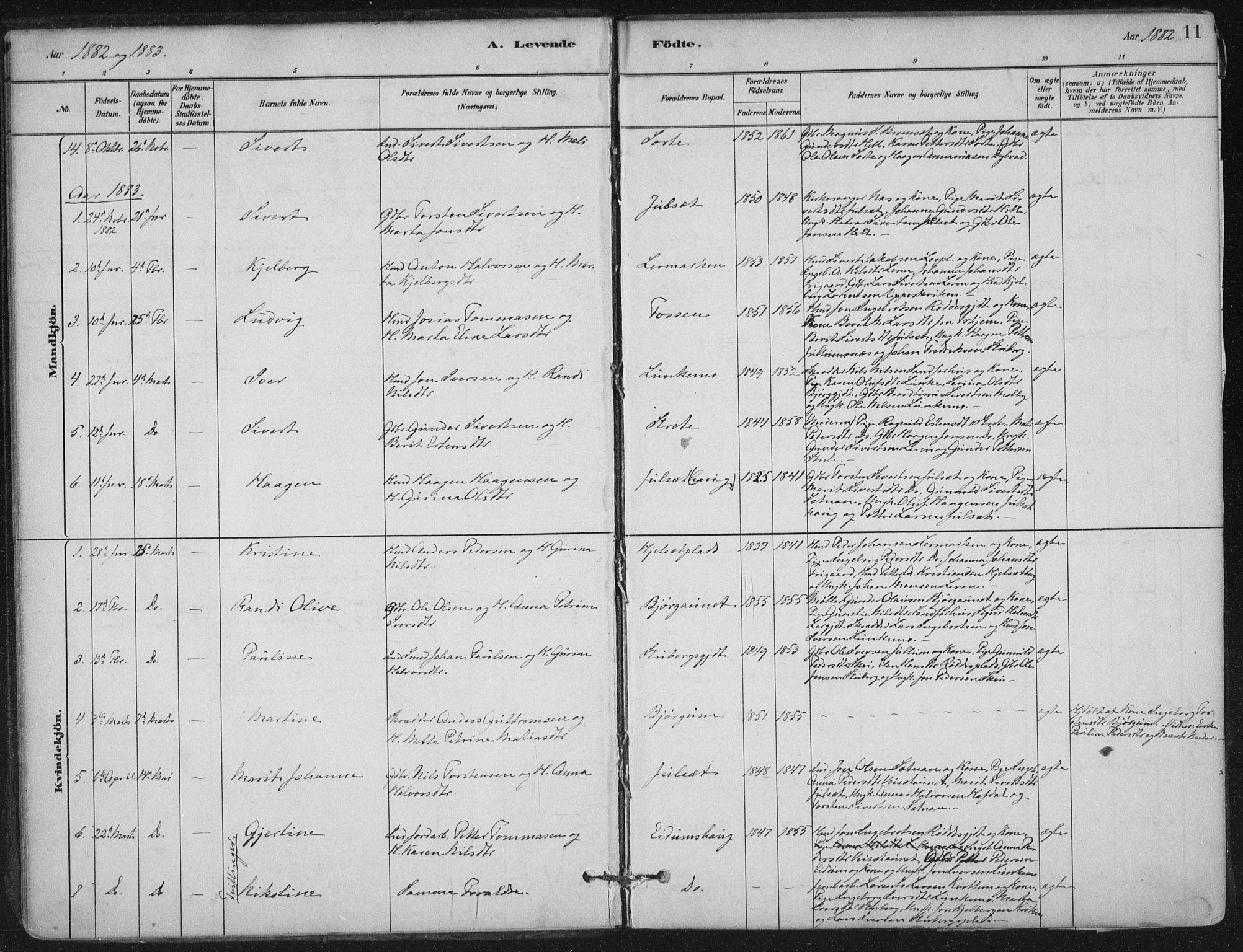 SAT, Ministerialprotokoller, klokkerbøker og fødselsregistre - Nord-Trøndelag, 710/L0095: Ministerialbok nr. 710A01, 1880-1914, s. 11