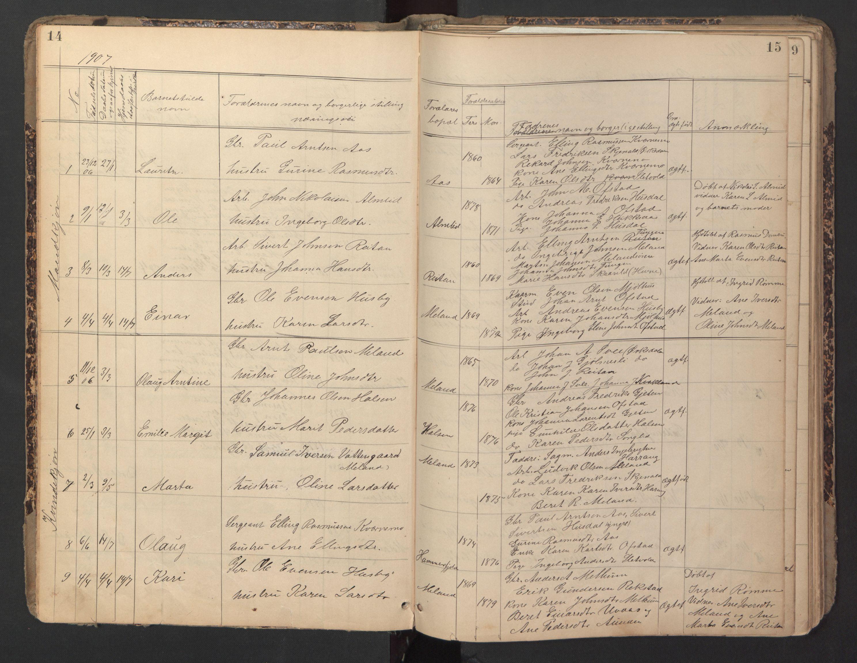 SAT, Ministerialprotokoller, klokkerbøker og fødselsregistre - Sør-Trøndelag, 670/L0837: Klokkerbok nr. 670C01, 1905-1946, s. 14-15