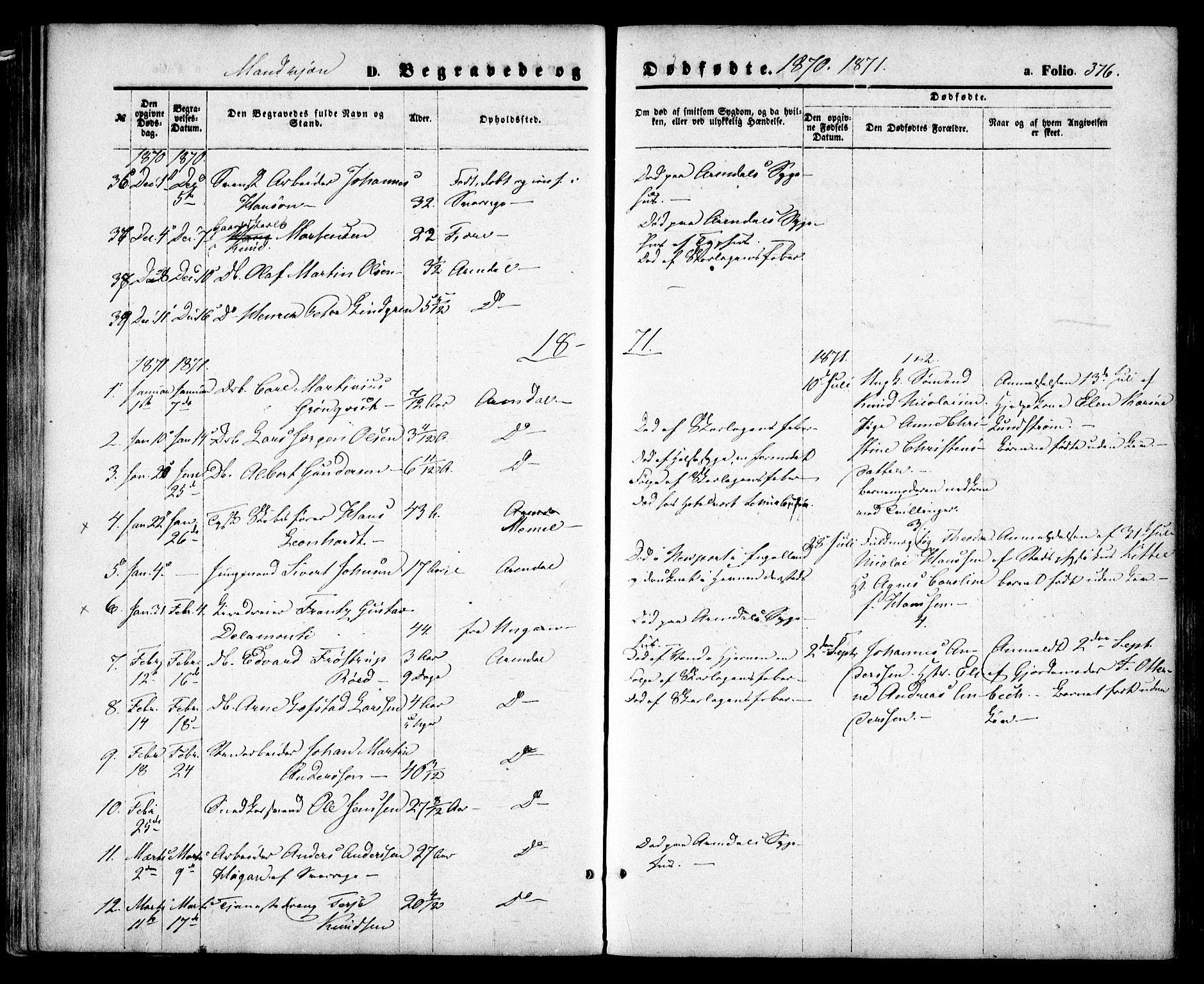 SAK, Arendal sokneprestkontor, Trefoldighet, F/Fa/L0007: Ministerialbok nr. A 7, 1868-1878, s. 376