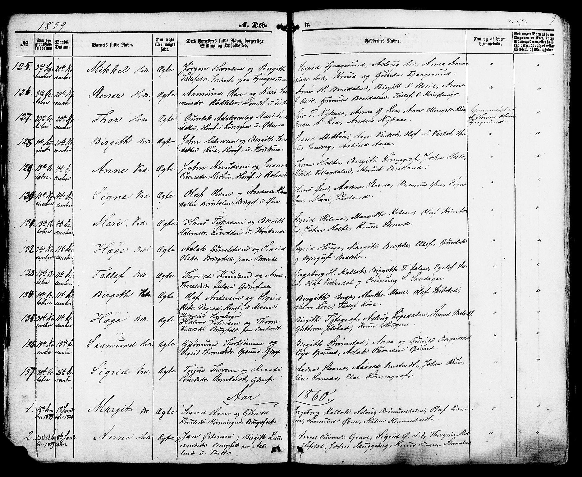 SAKO, Kviteseid kirkebøker, F/Fa/L0007: Ministerialbok nr. I 7, 1859-1881, s. 9