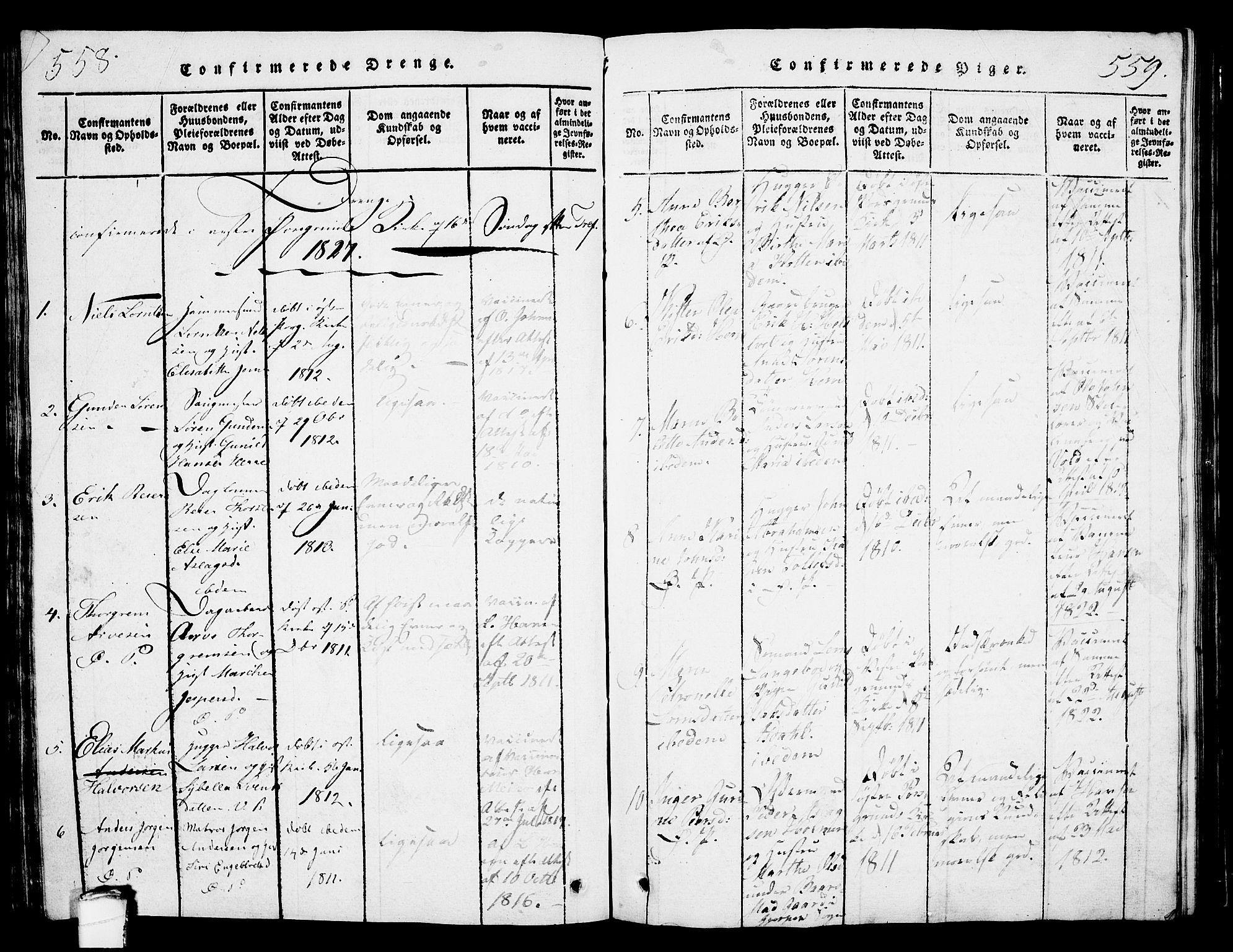 SAKO, Porsgrunn kirkebøker , G/Gb/L0001: Klokkerbok nr. II 1, 1817-1828, s. 558-559