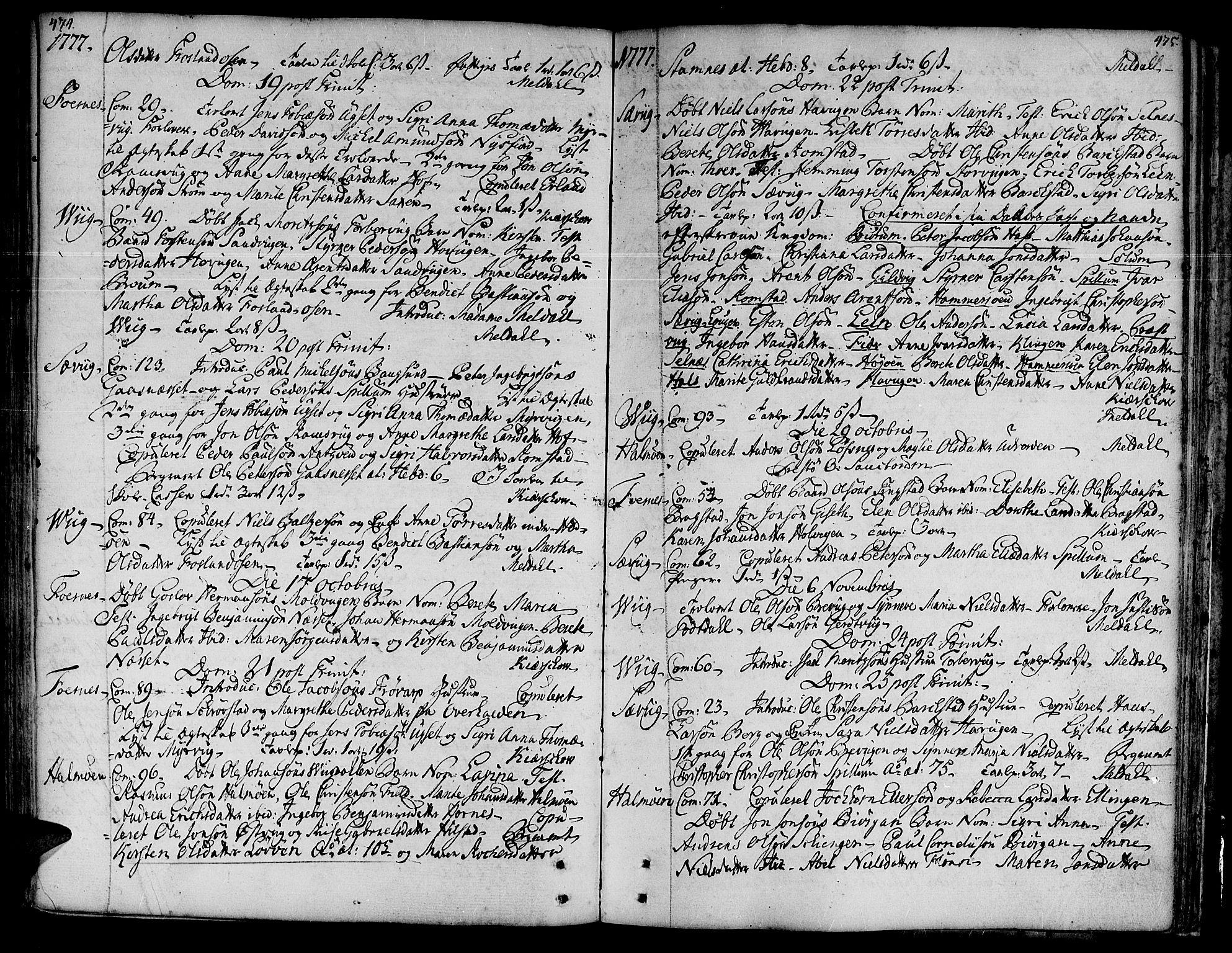 SAT, Ministerialprotokoller, klokkerbøker og fødselsregistre - Nord-Trøndelag, 773/L0607: Ministerialbok nr. 773A01, 1751-1783, s. 474-475