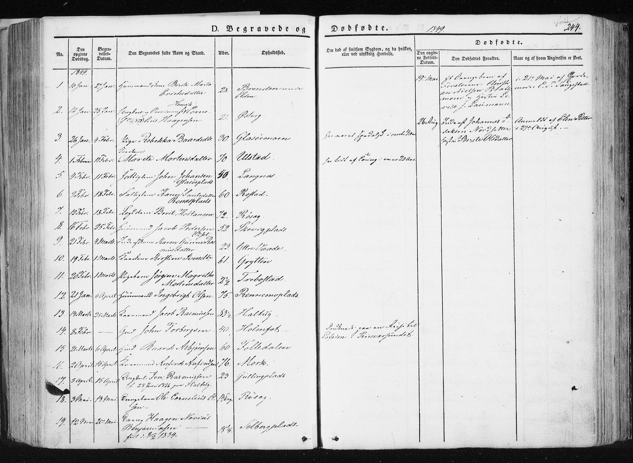 SAT, Ministerialprotokoller, klokkerbøker og fødselsregistre - Nord-Trøndelag, 741/L0393: Ministerialbok nr. 741A07, 1849-1863, s. 244