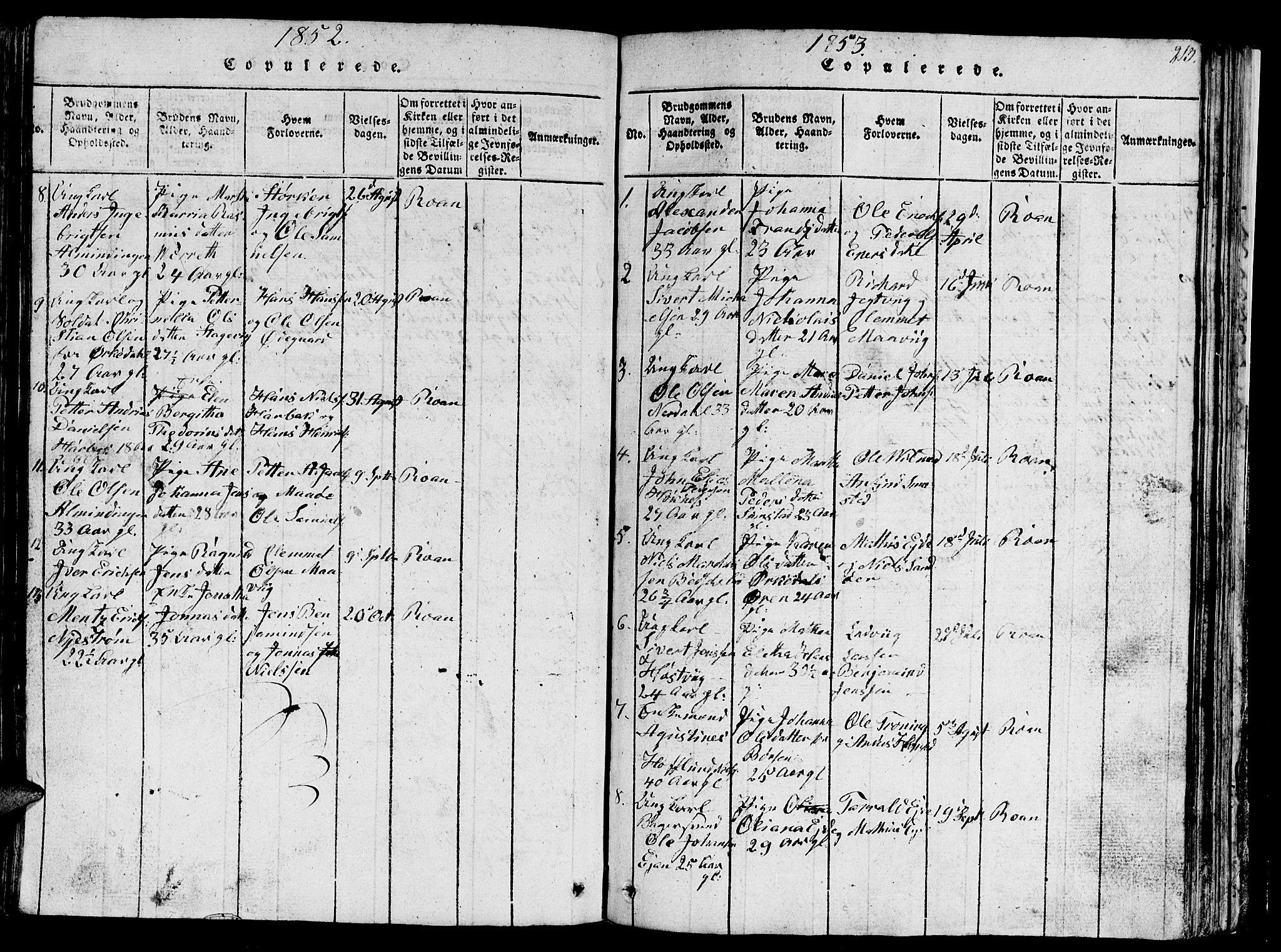 SAT, Ministerialprotokoller, klokkerbøker og fødselsregistre - Sør-Trøndelag, 657/L0714: Klokkerbok nr. 657C01, 1818-1868, s. 213