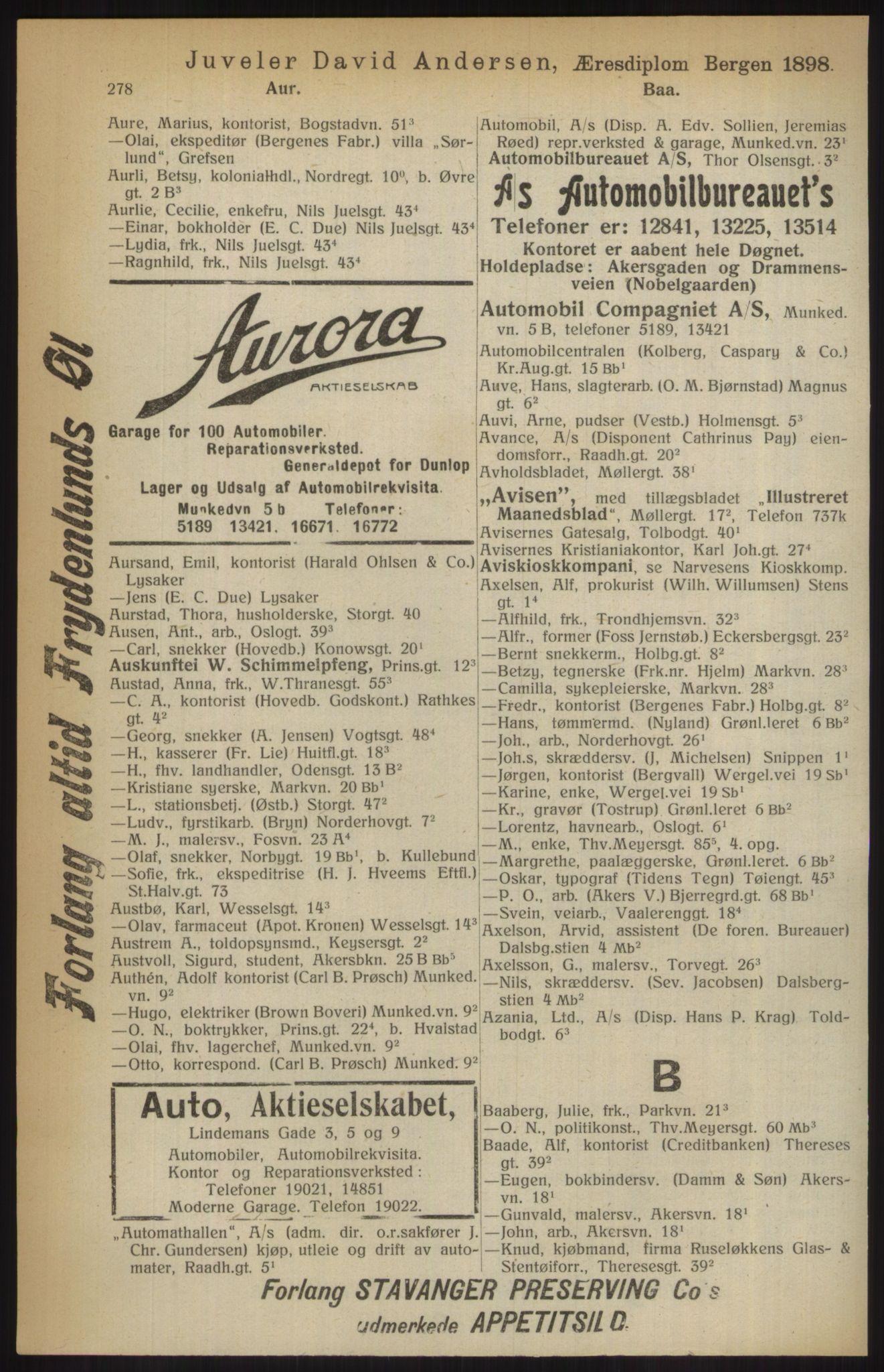RA, Kristiania adressebok (publikasjon)*, 1914, s. 278