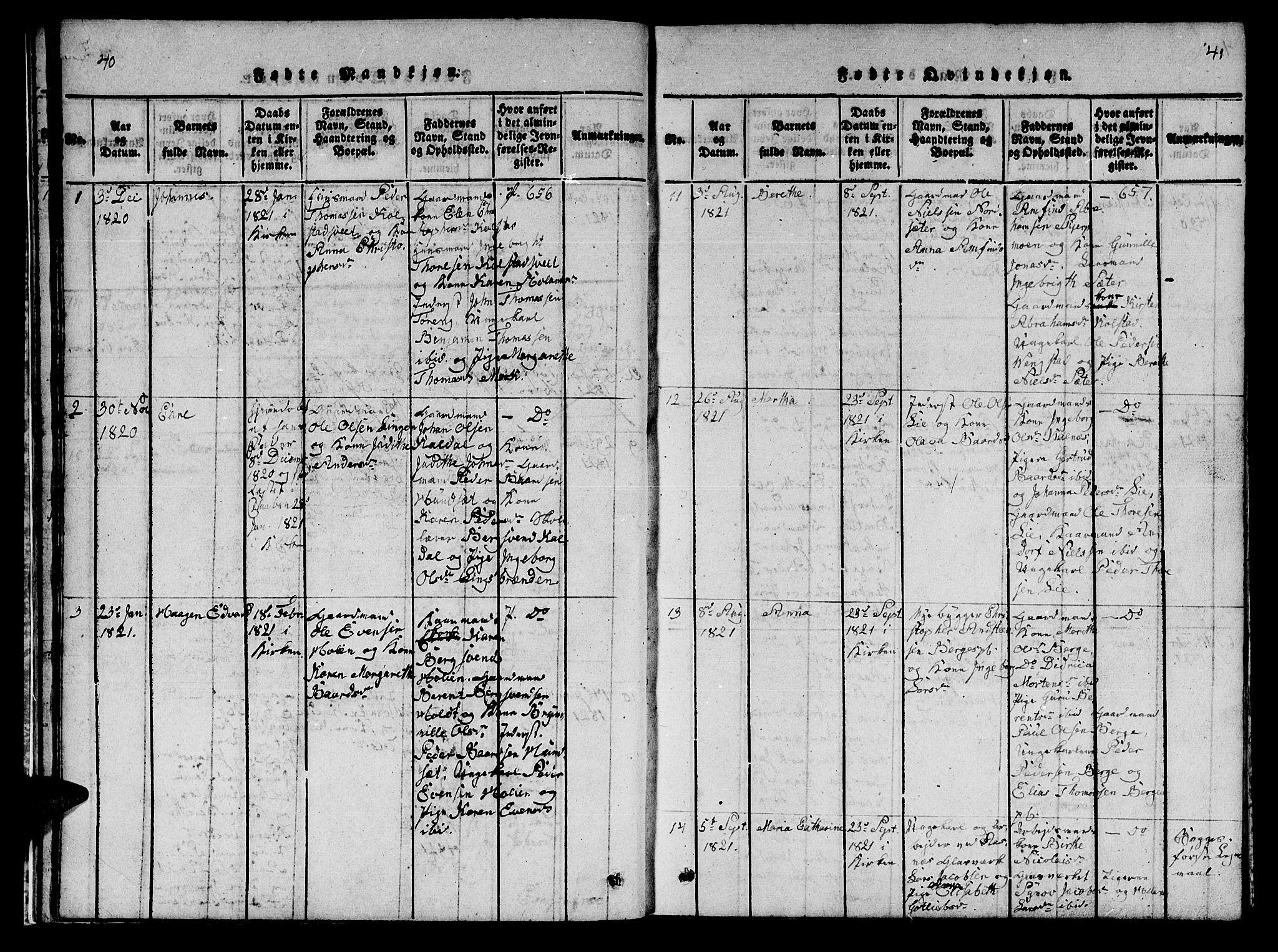 SAT, Ministerialprotokoller, klokkerbøker og fødselsregistre - Nord-Trøndelag, 742/L0411: Klokkerbok nr. 742C02, 1817-1825, s. 40-41